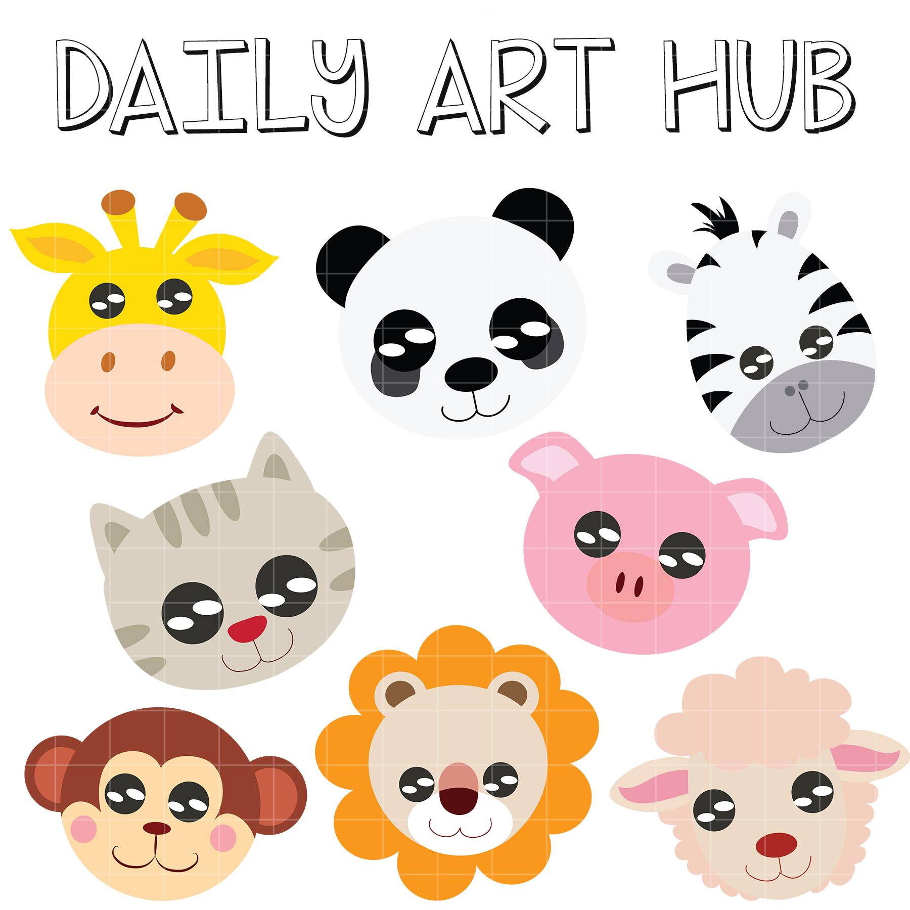 animal heads animals clip cartoons birthday hub daily dailyarthub