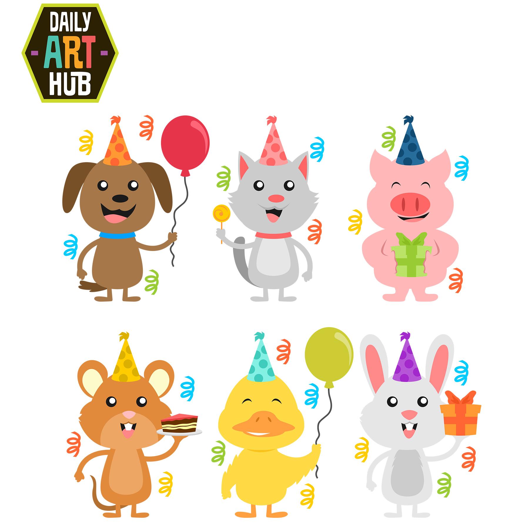 Birthday Animals Clip Art Set Daily Art Hub Free Clip Art Everyday