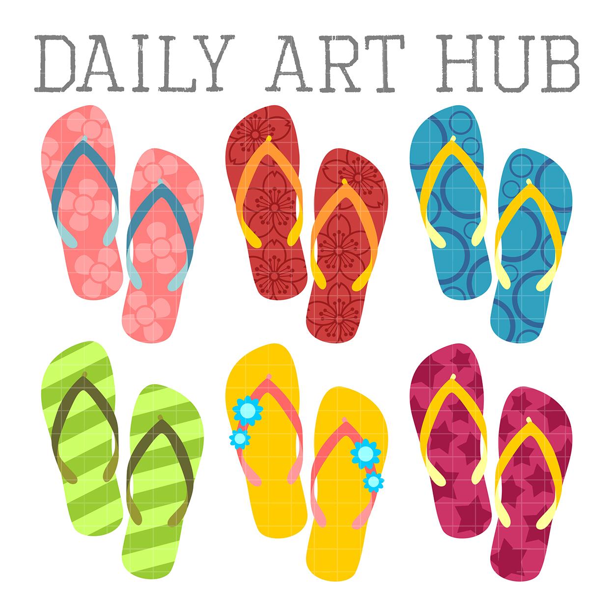 9f446e8466b Colorful Flip Flops Clip Art Set – Daily Art Hub – Free Clip Art ...