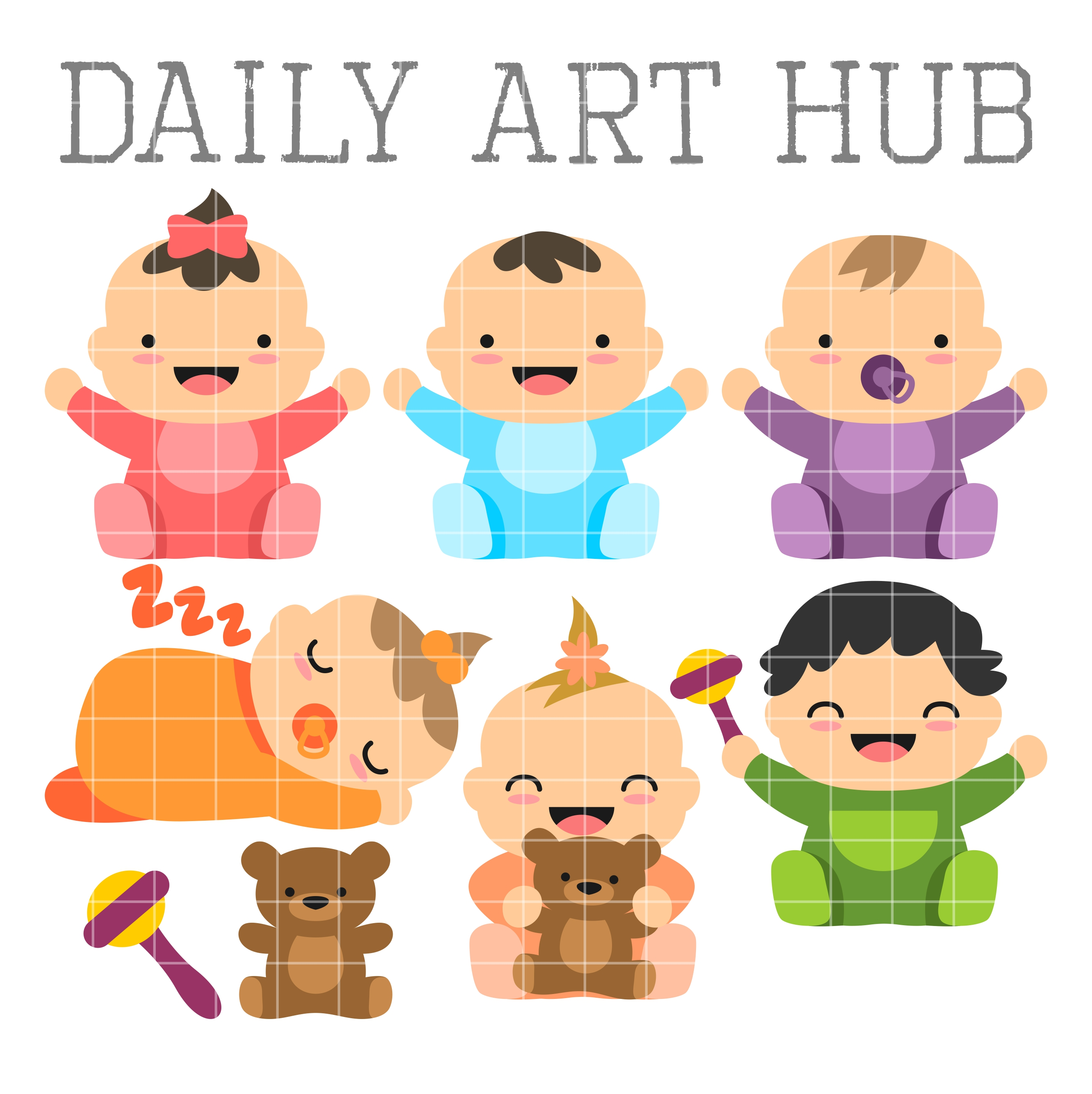 cute babies clip art set daily art hub free clip art everyday rh dailyarthub com baby clip art images free baby clipart outline