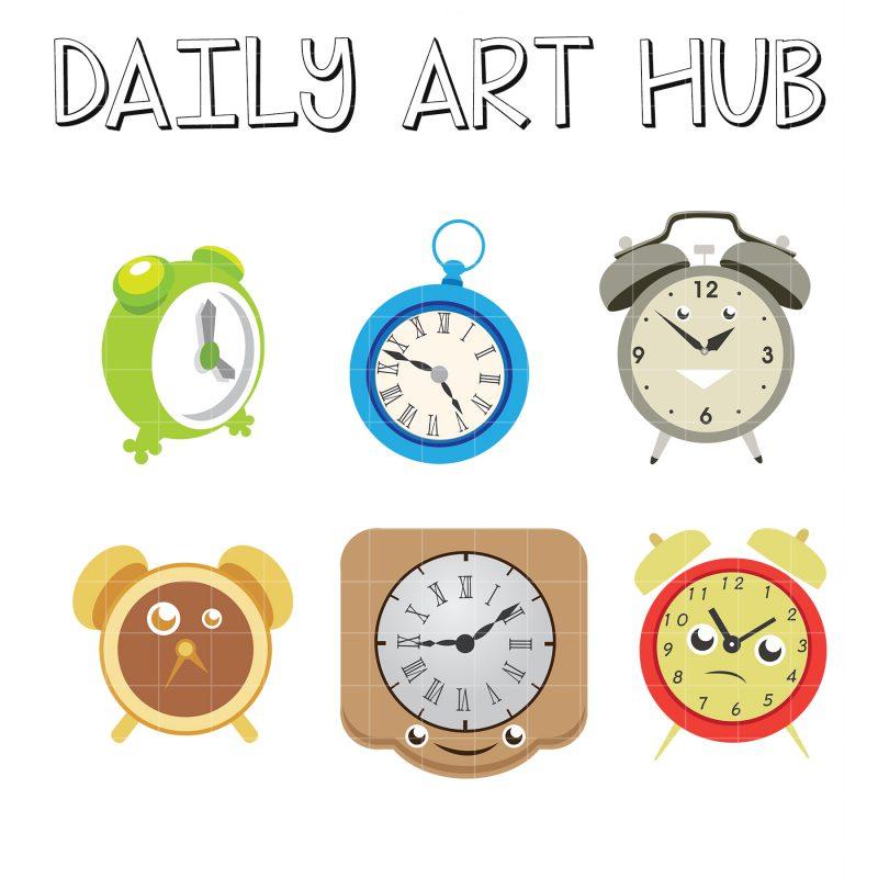 Cute Clocks Clip Art Set Daily Art Hub