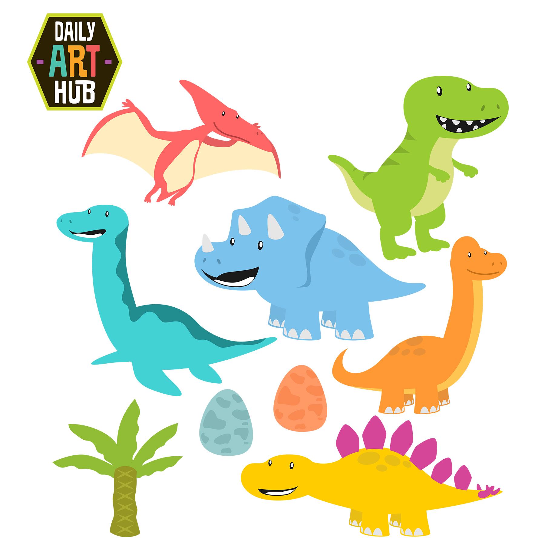 Cute Dinosaurs Clip Art Set | Daily Art Hub