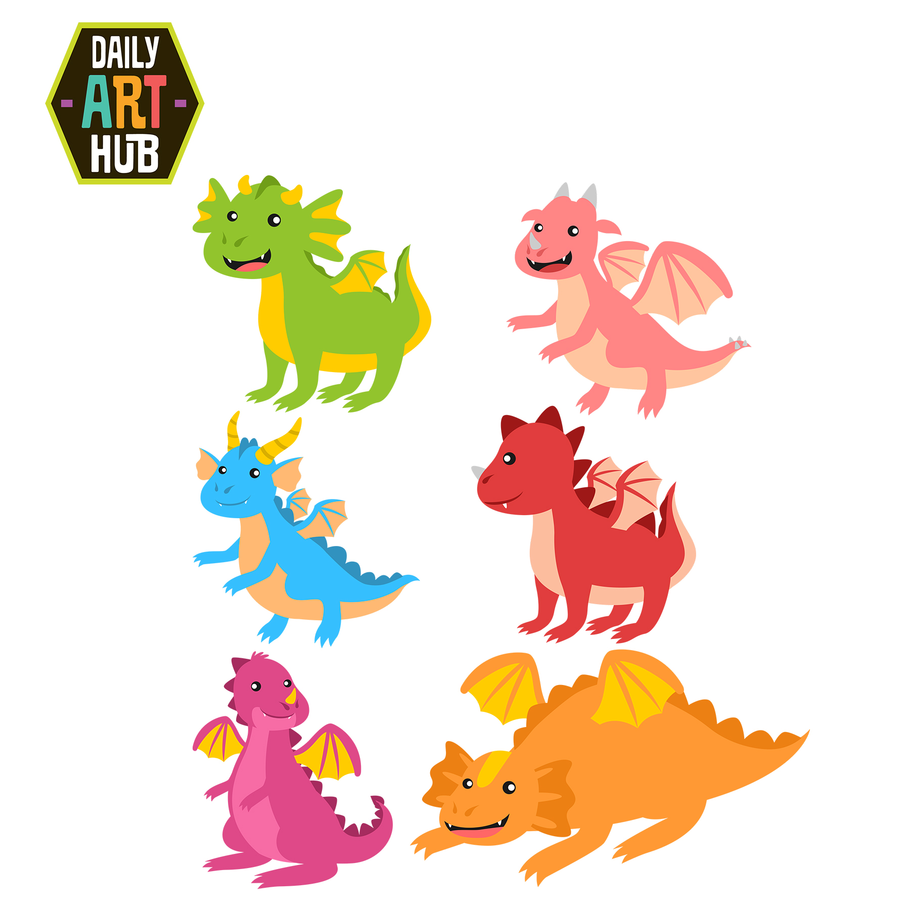 cute dragons clip art set daily art hub free clip art everyday rh dailyarthub com clip art dragon clip art dragonfly outline only