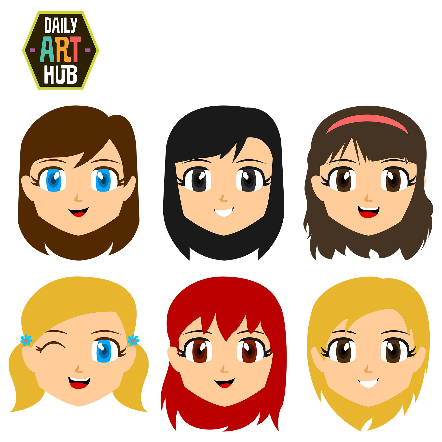 Cute Girl Faces Clip Art Set – Daily Art Hub – Free Clip ...