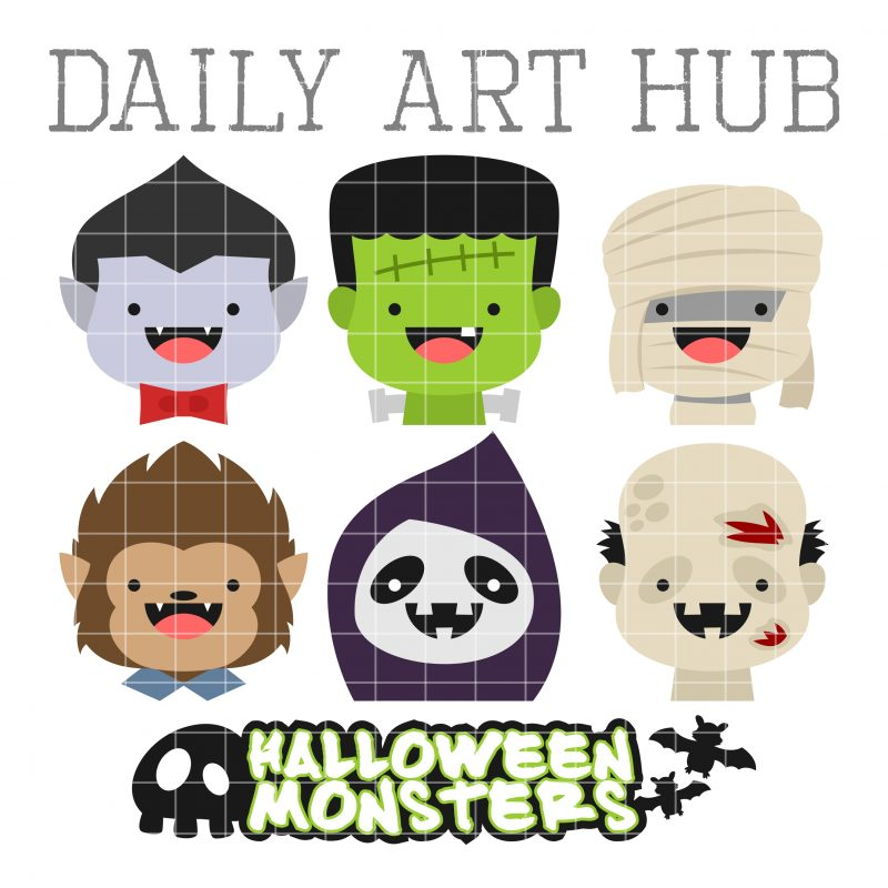 Cute Halloween Monster Heads