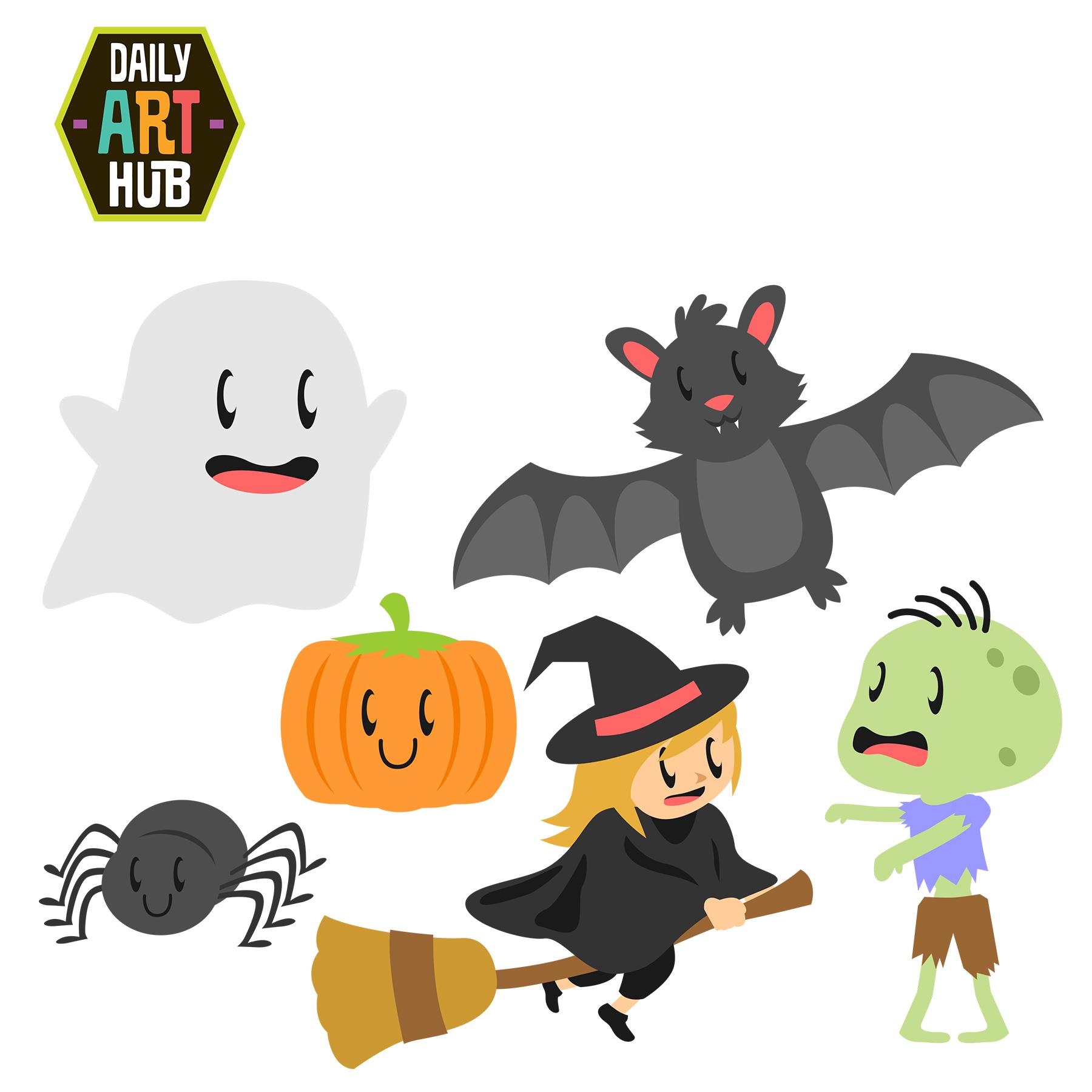 Cute Halloween Clip Art Set | Daily Art Hub