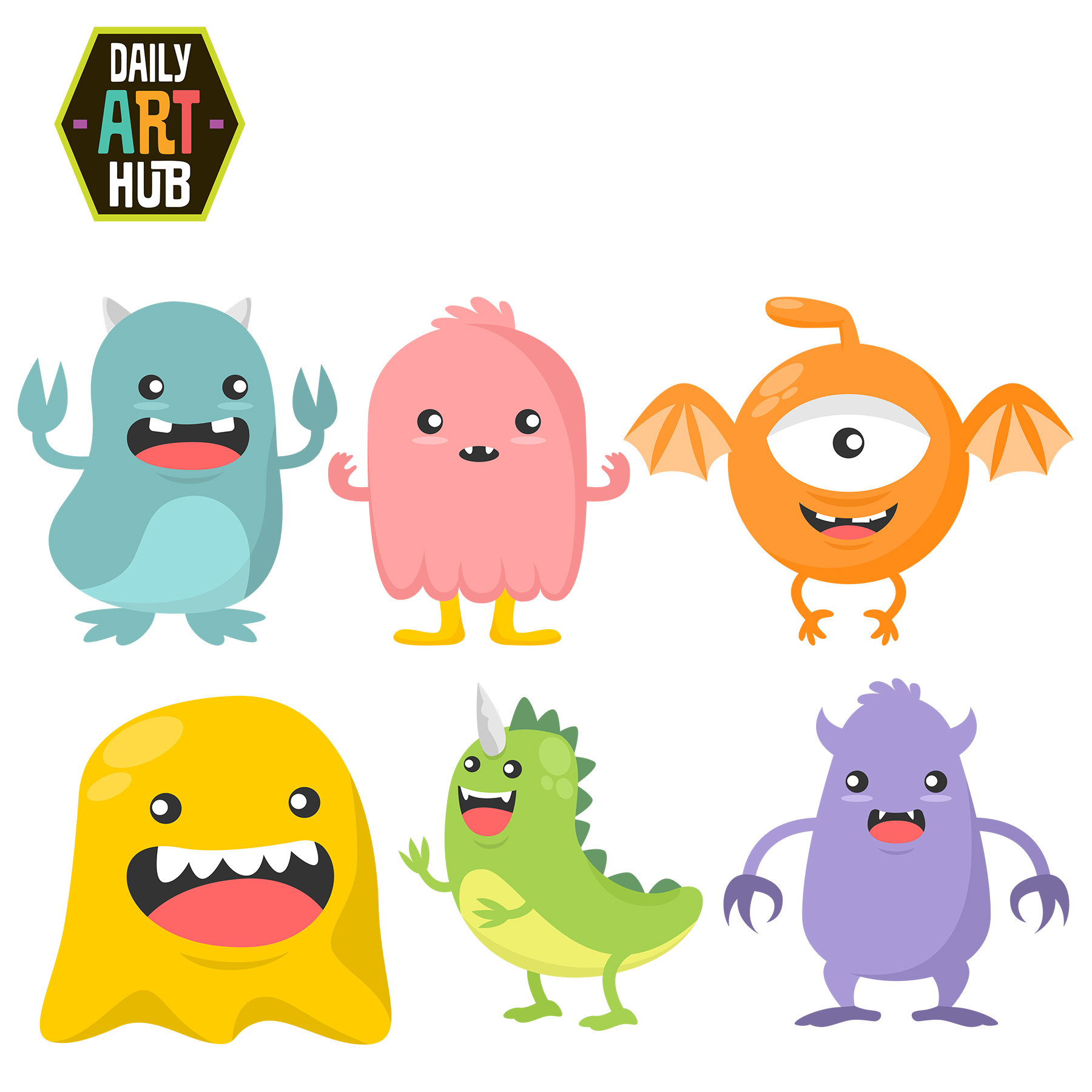 monsters cute clip halloween monster clipart cartoons alien scary birthday hub character head dailyarthub