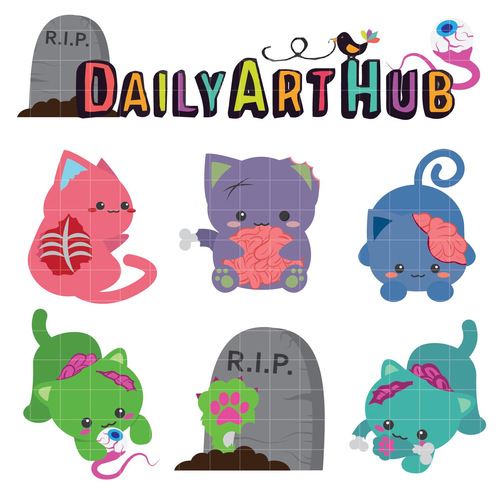 Cute Zombie Cats Clip Art Set | Daily Art Hub