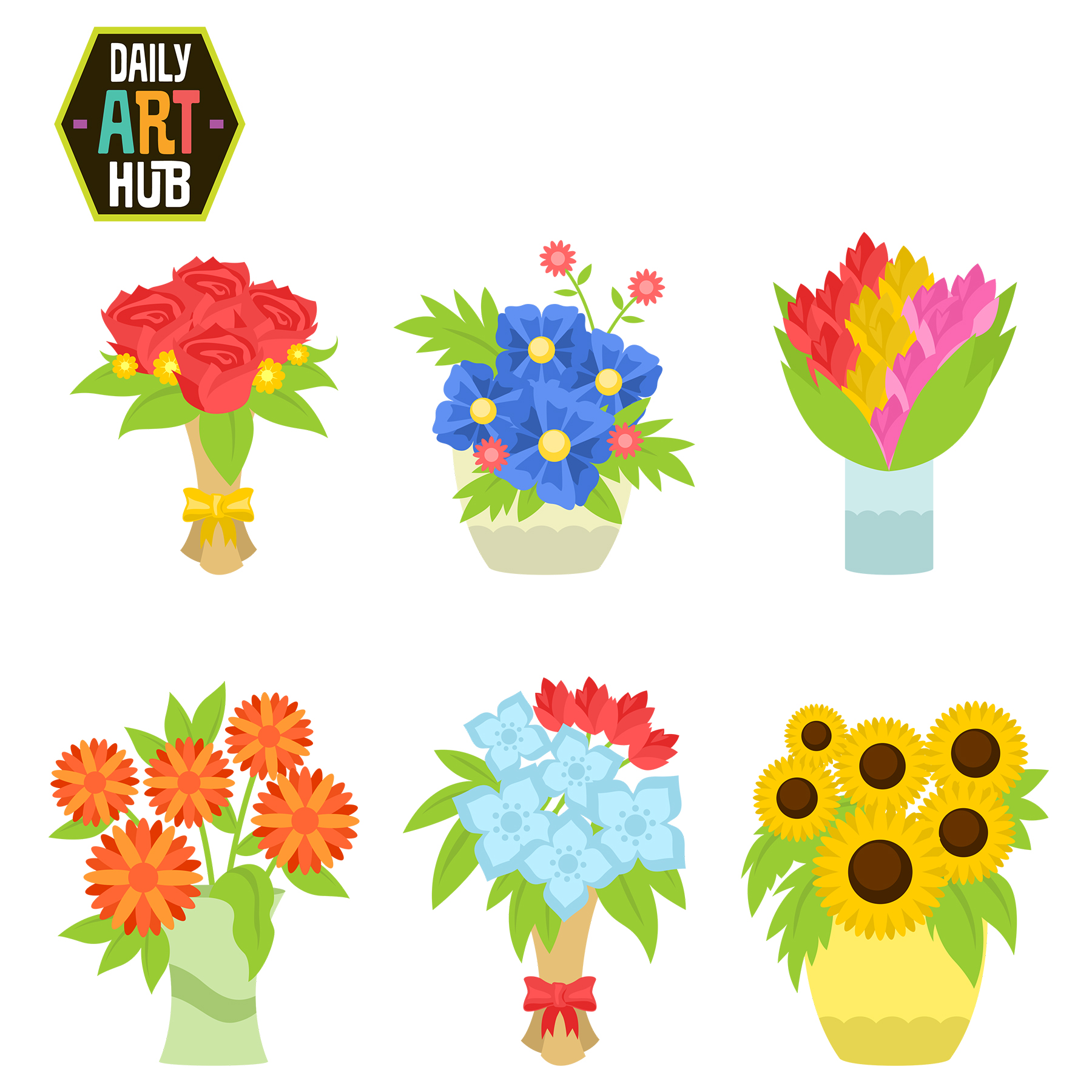 Flower bouquet clip art set daily art hub free clip art everyday flower bouquet clip art set izmirmasajfo