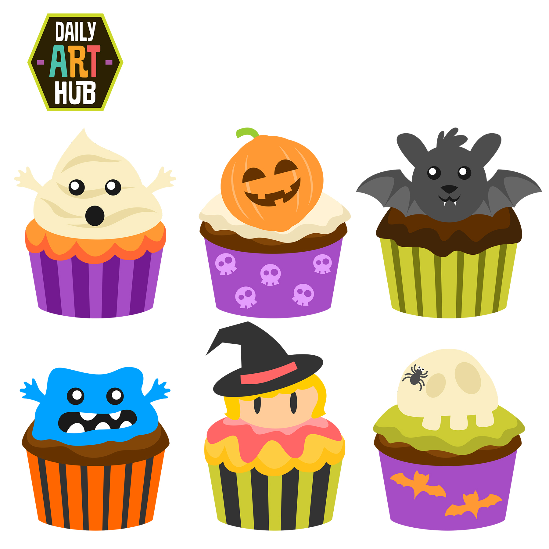 halloween cupcakes clip art set daily art hub free Halloween Bake Sale Logo Bake Sale Clip Art Graphics