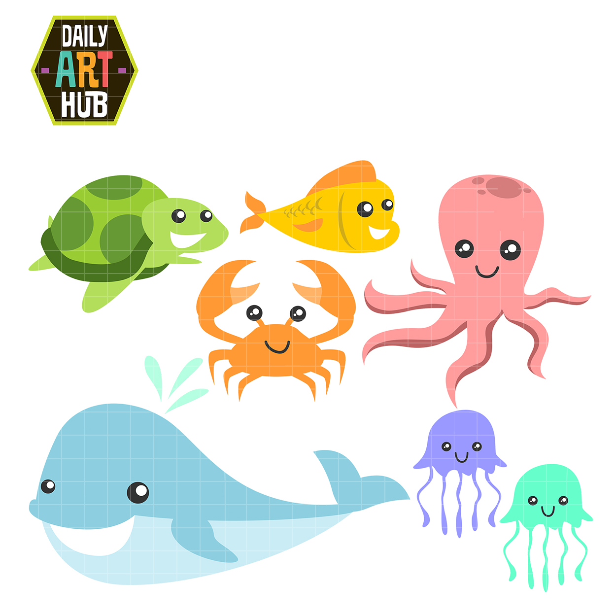 sea creatures clip art set daily art hub