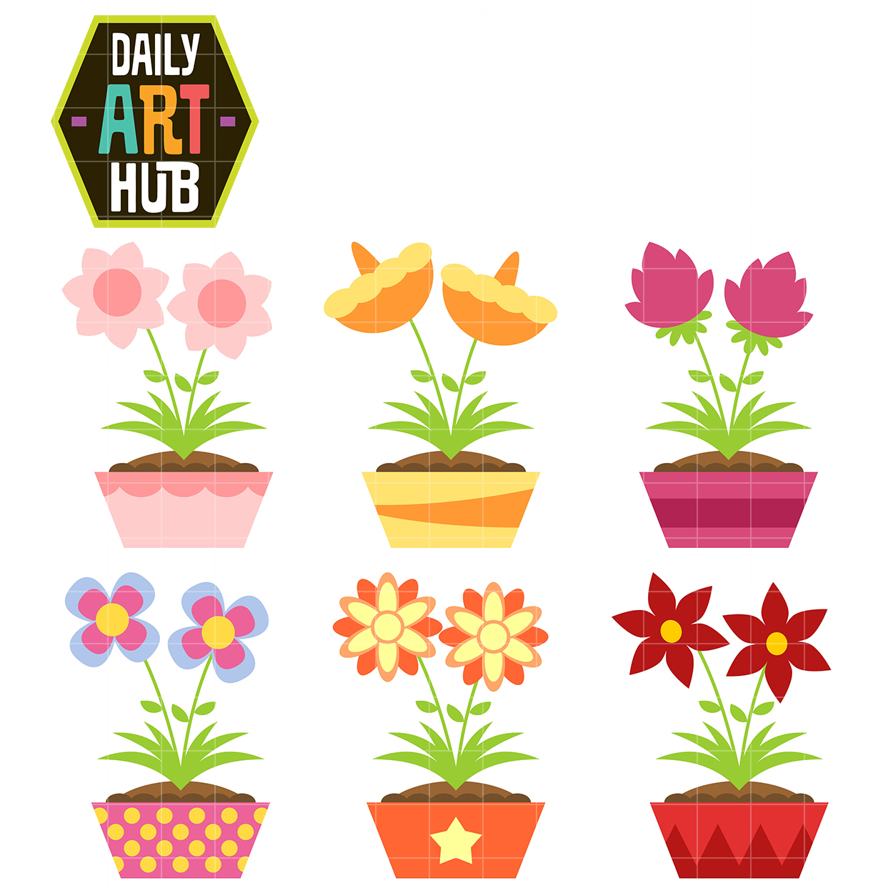 simple and cute flowers clip art set daily art hub free clip art rh dailyarthub com cute flowers clip art cute flower pot clipart