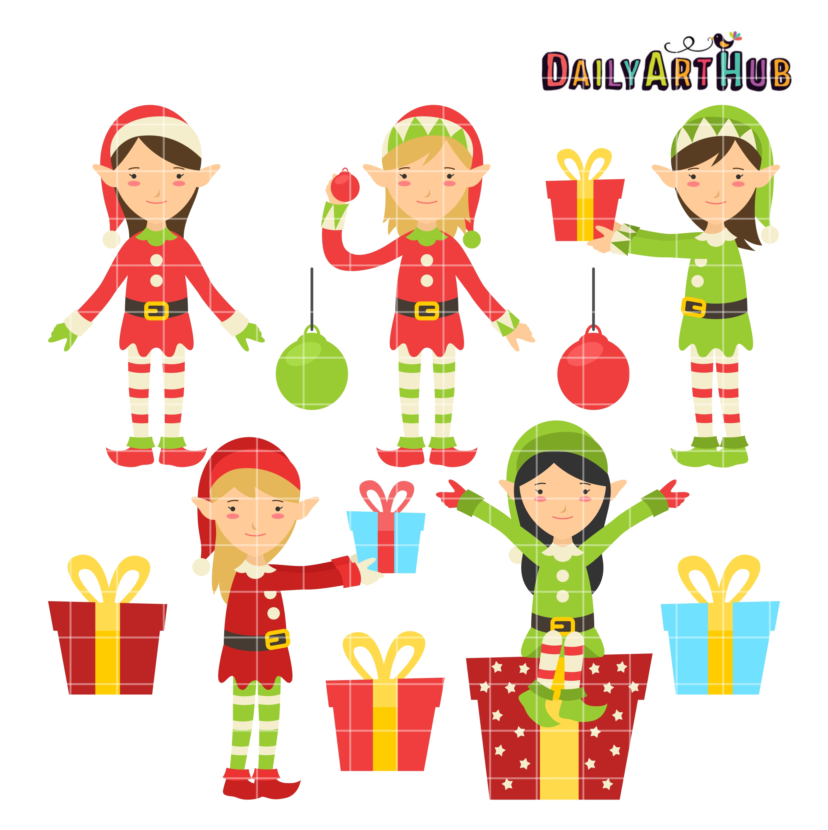 Christmas Elves Clip Art Set | Daily Art Hub