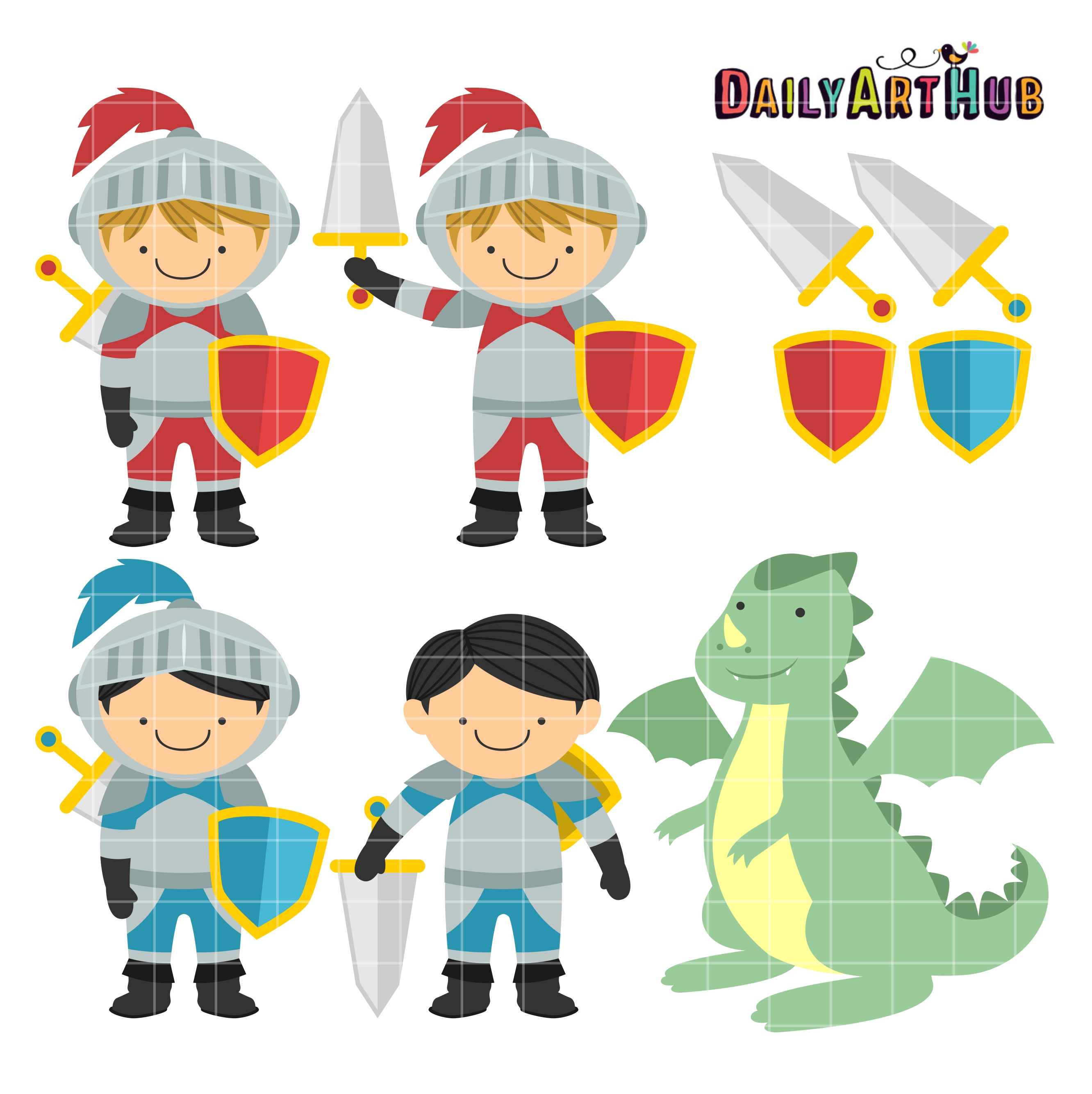 Cute Knights And Dragon Clip Art Set | Daily Art Hub