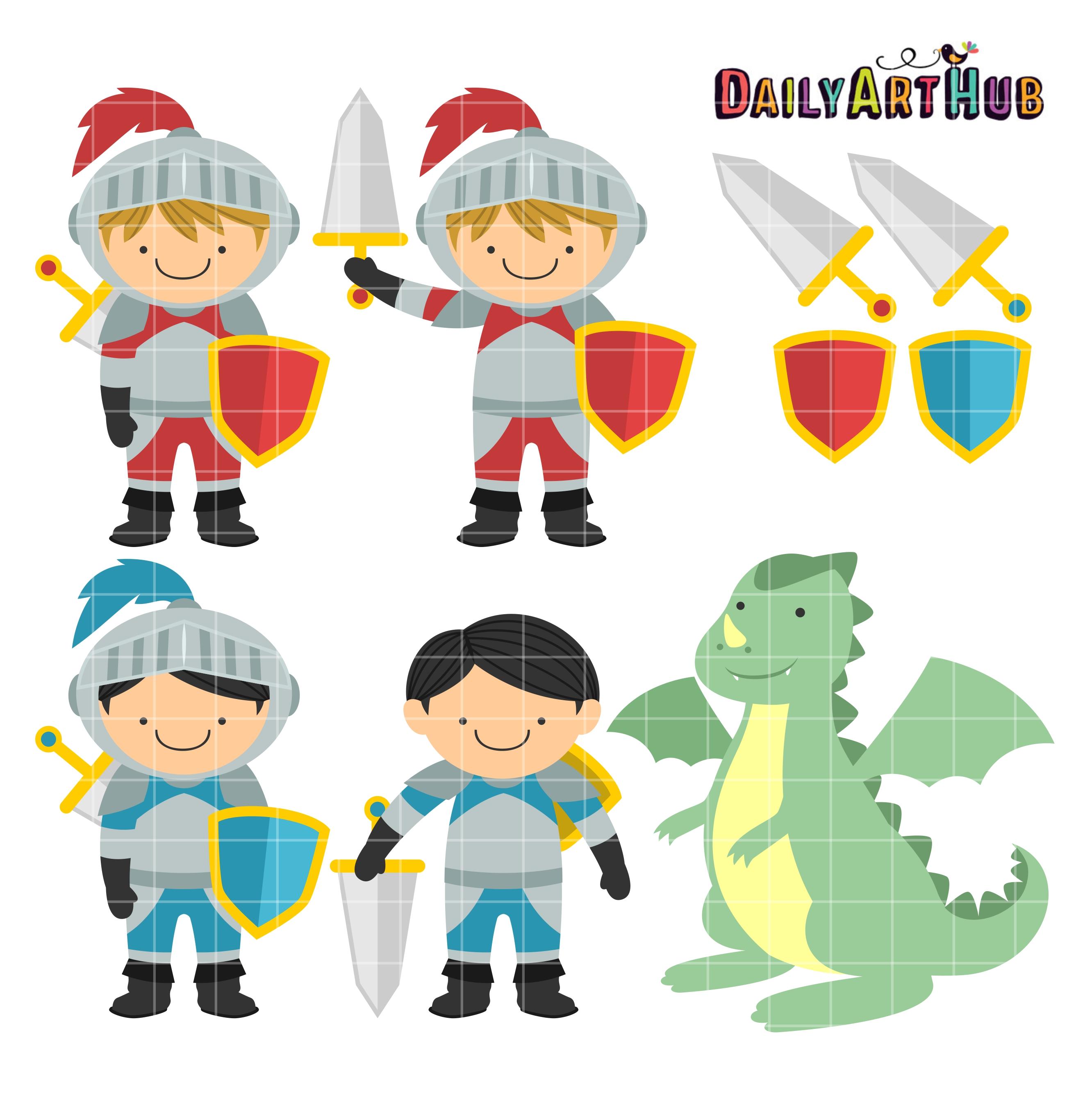 Cute Knights And Dragon Clip Art Set | Daily Art Hub