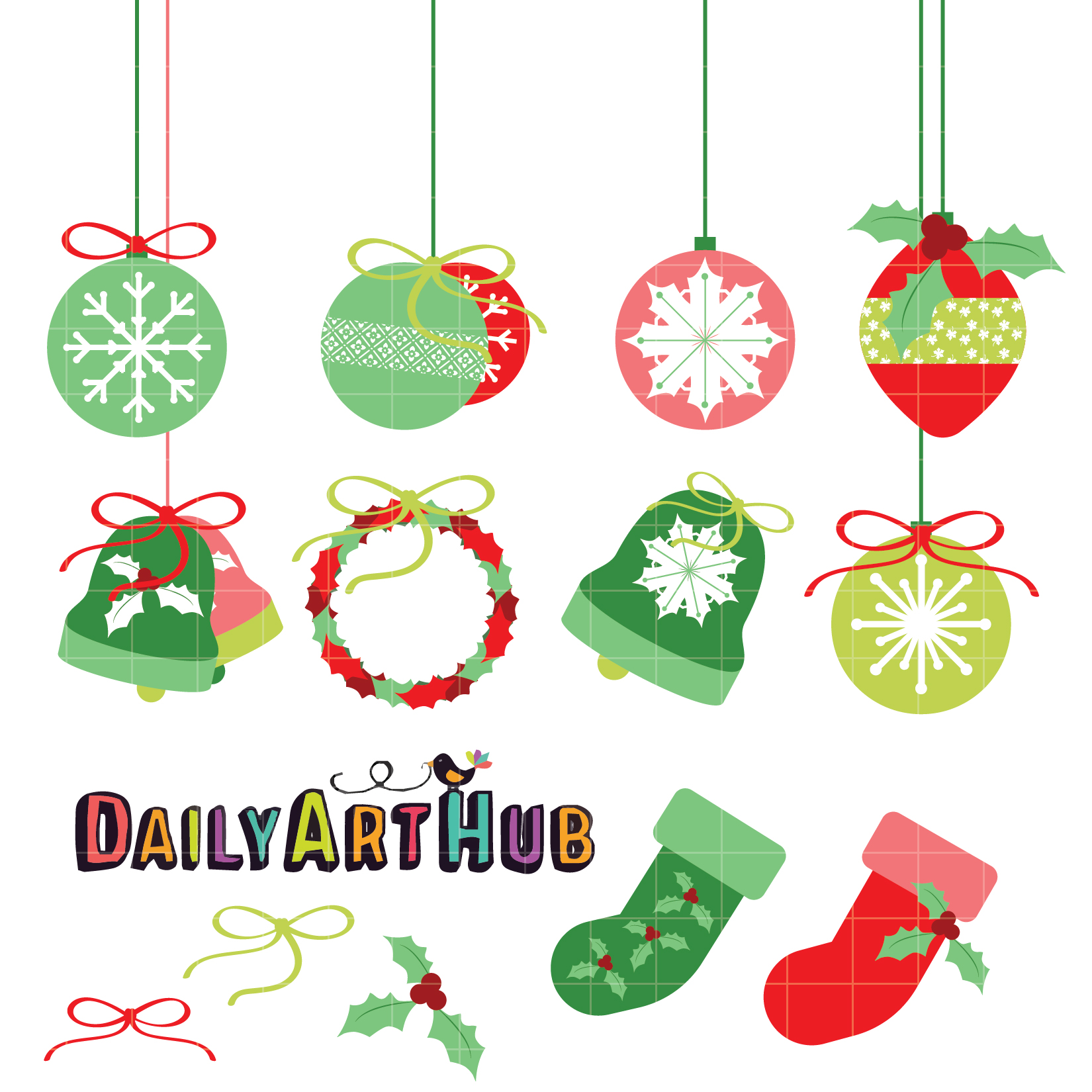 Christmas decorations clip art set daily art hub for Decoration clips