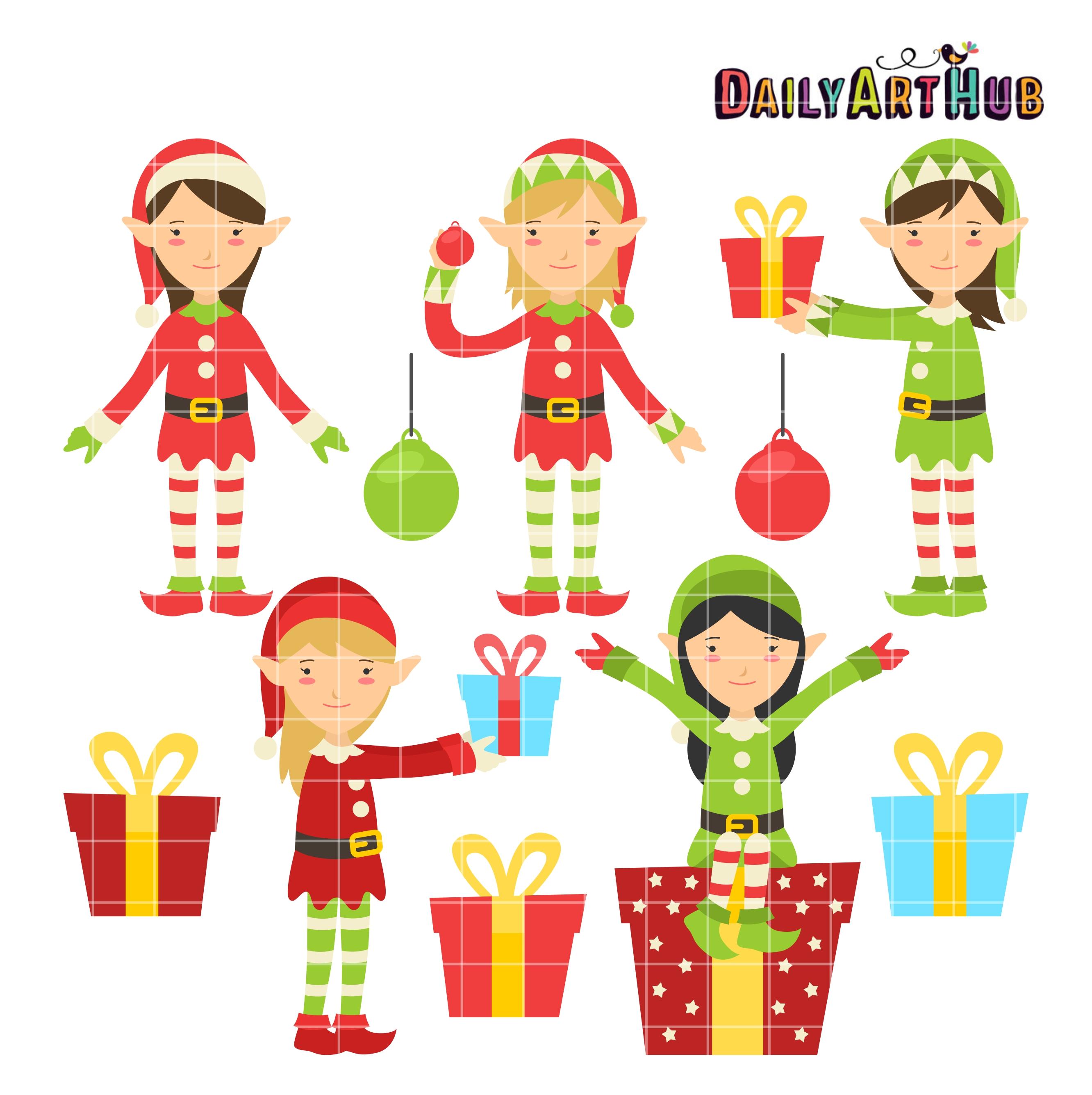 Christmas Elves Clipart Free.Christmas Elves Clip Art Set