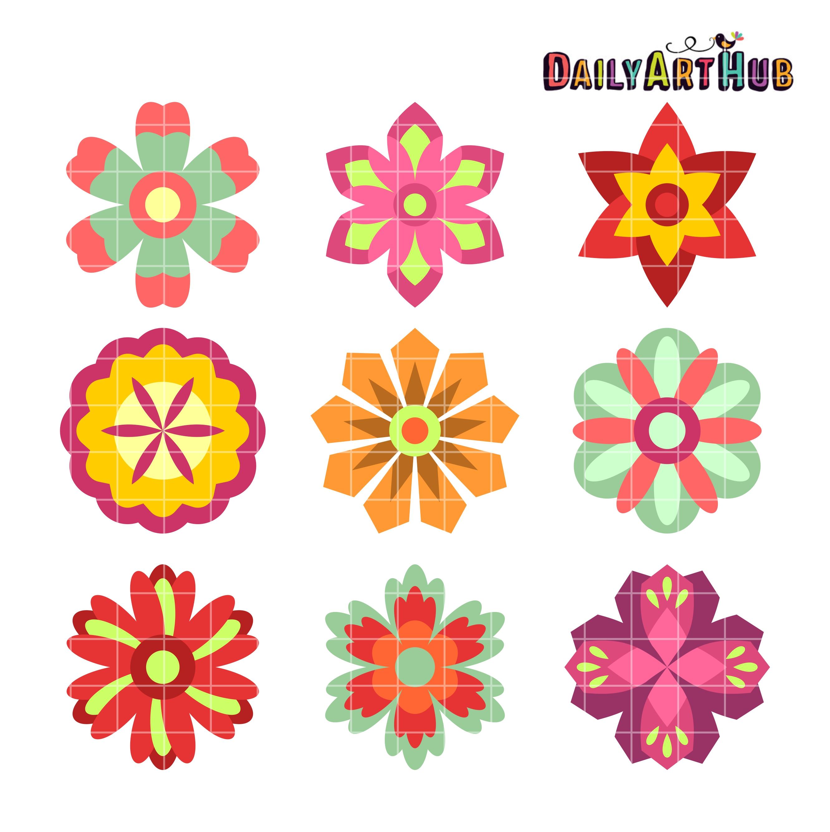 Colorful Spring Flowers Clip Art Set