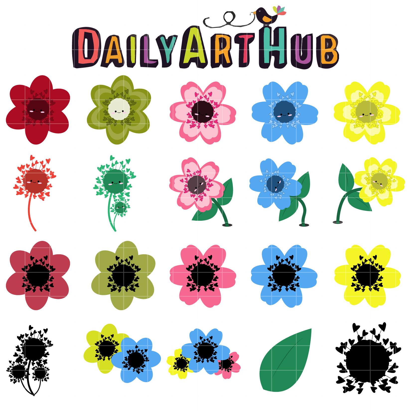 Cute Flowers Clip Art Set | Daily Art Hub