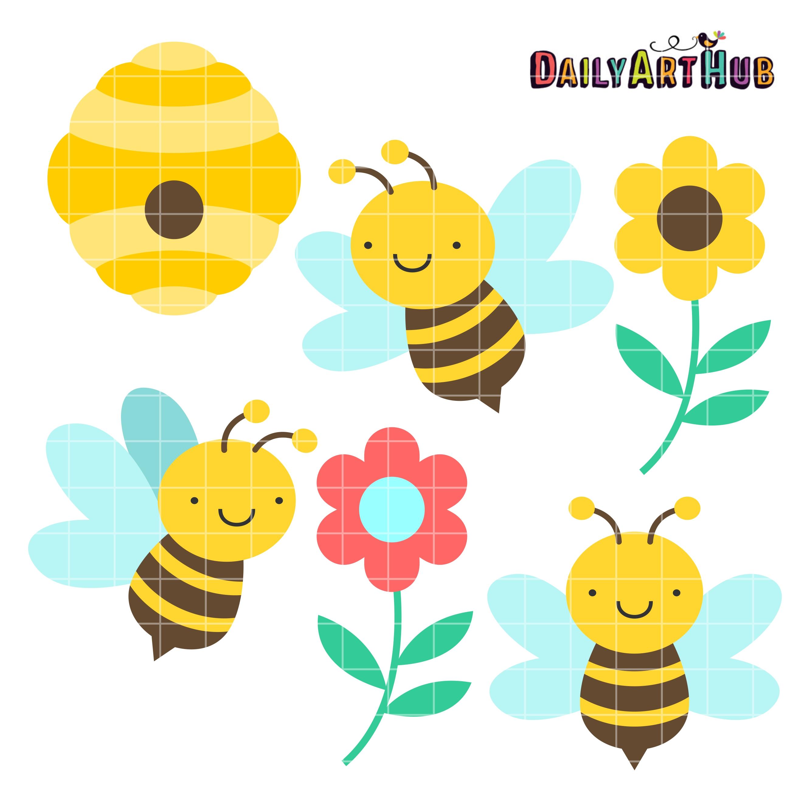 Cute Honey Bees Clip Art Set   Daily Art Hub