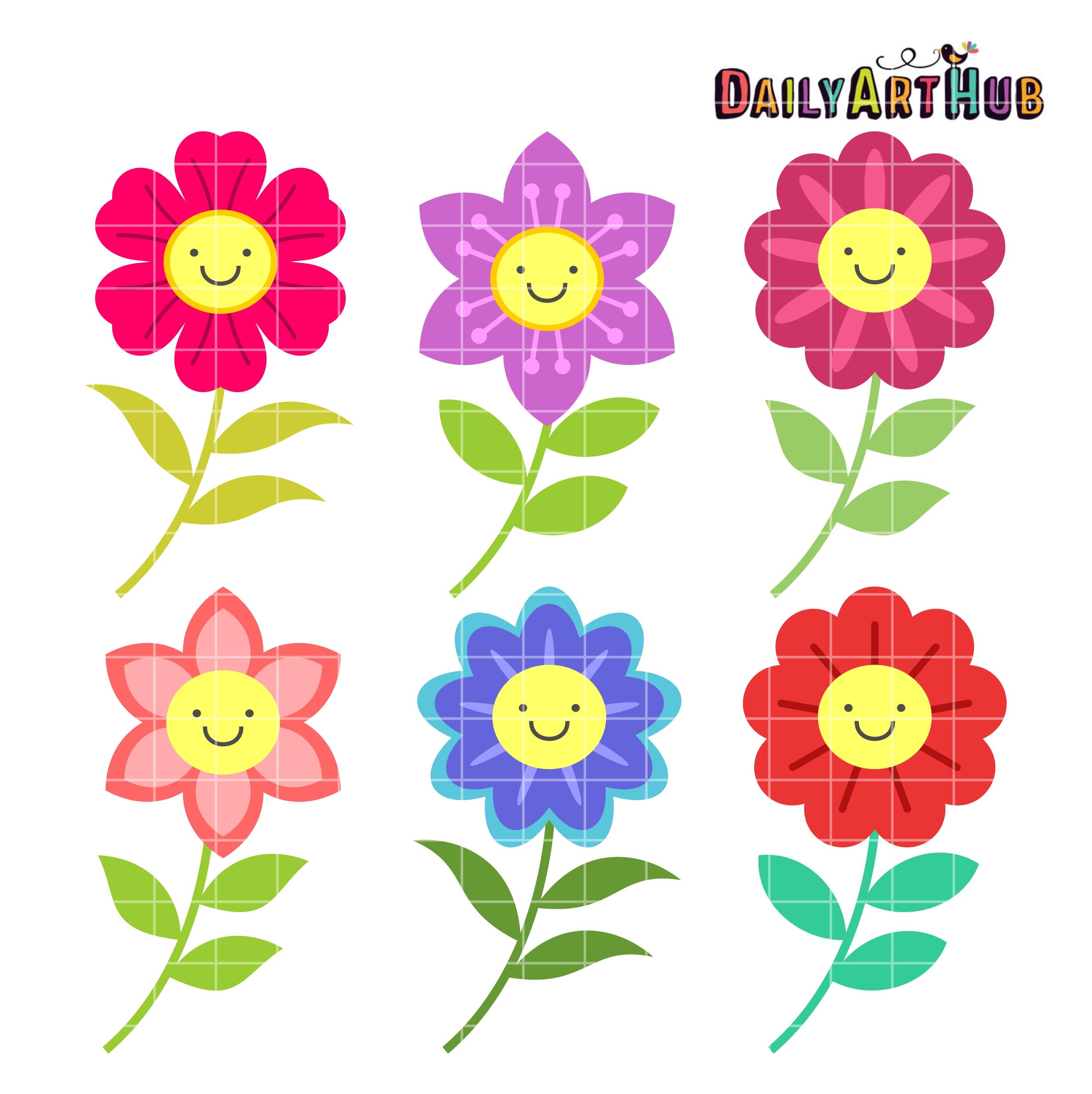 Happy Flowers Clip Art Set