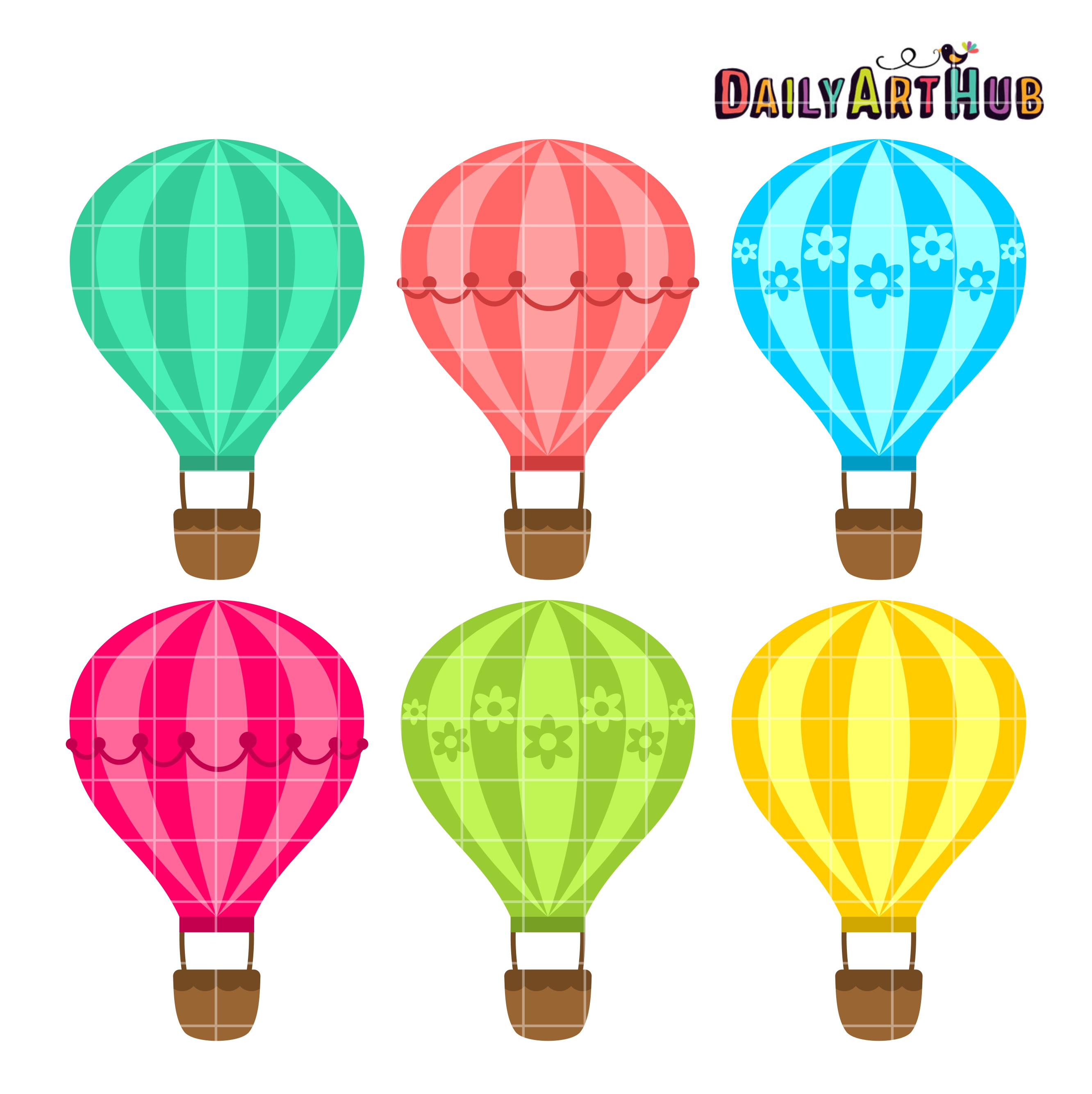 Hot Air Balloons Clip Art Set Daily Art Hub Free Clip Art Everyday