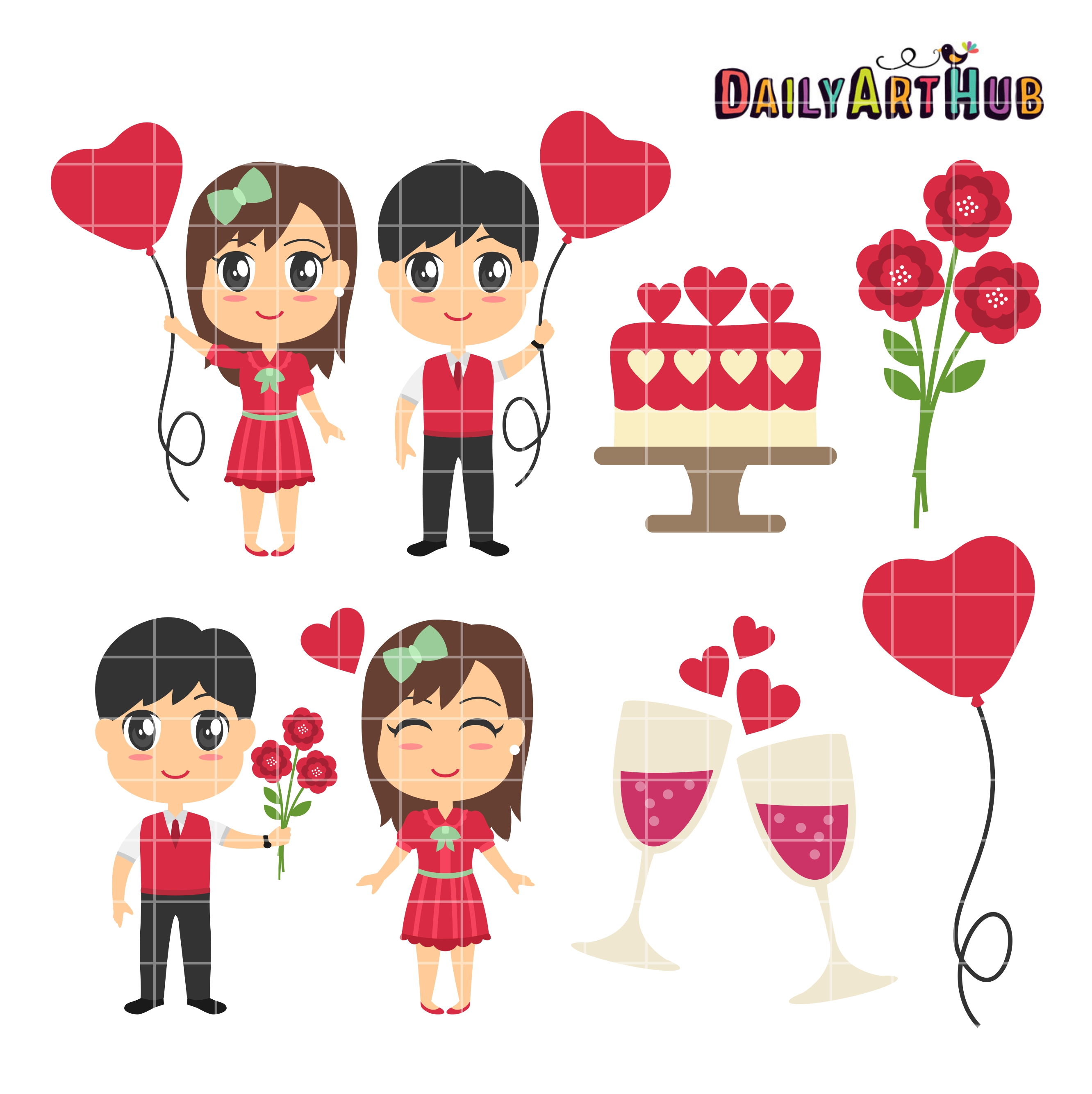 valentines day couples clip art set daily art hub