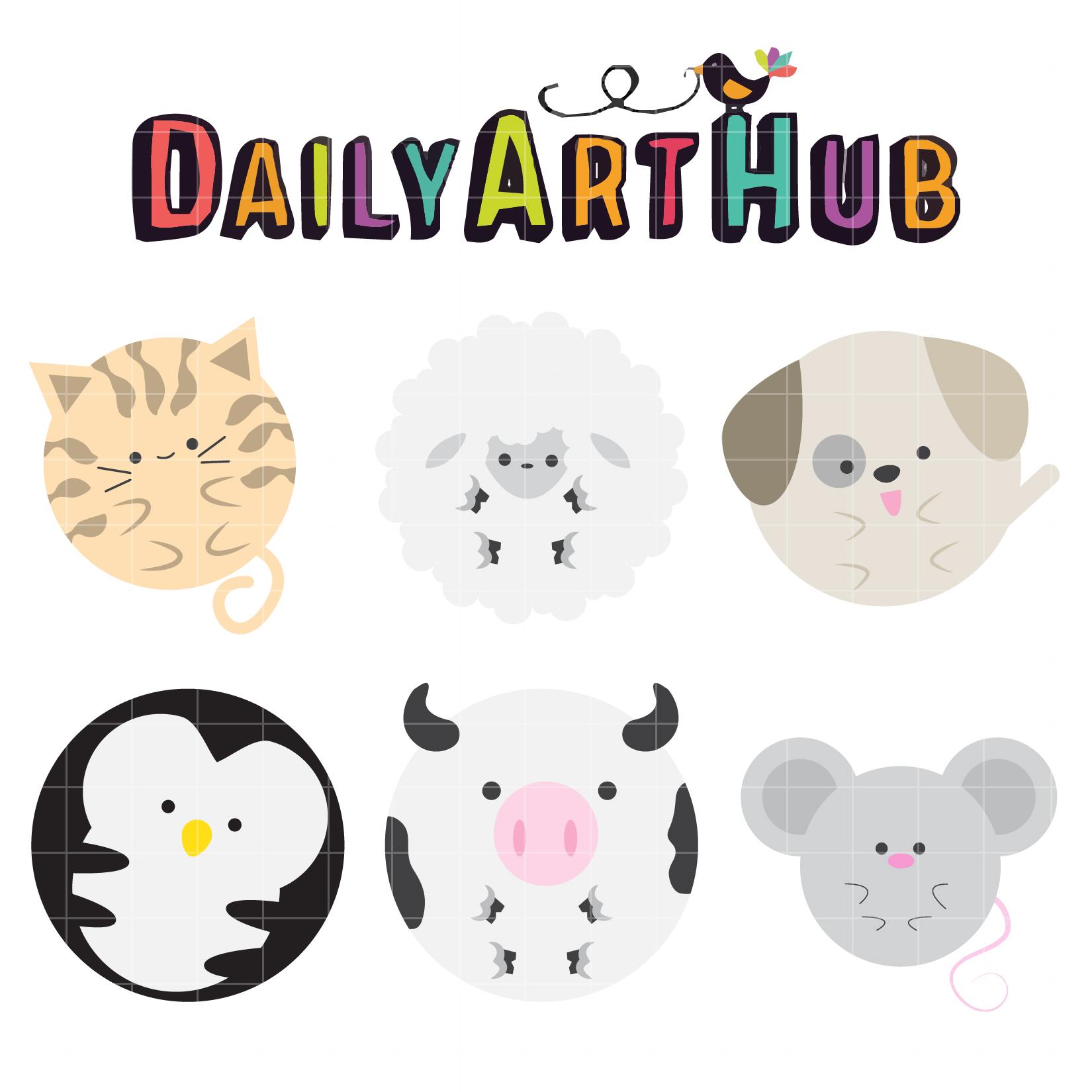 Cute Round Animals Clip Art Set – Daily Art Hub – Free ...