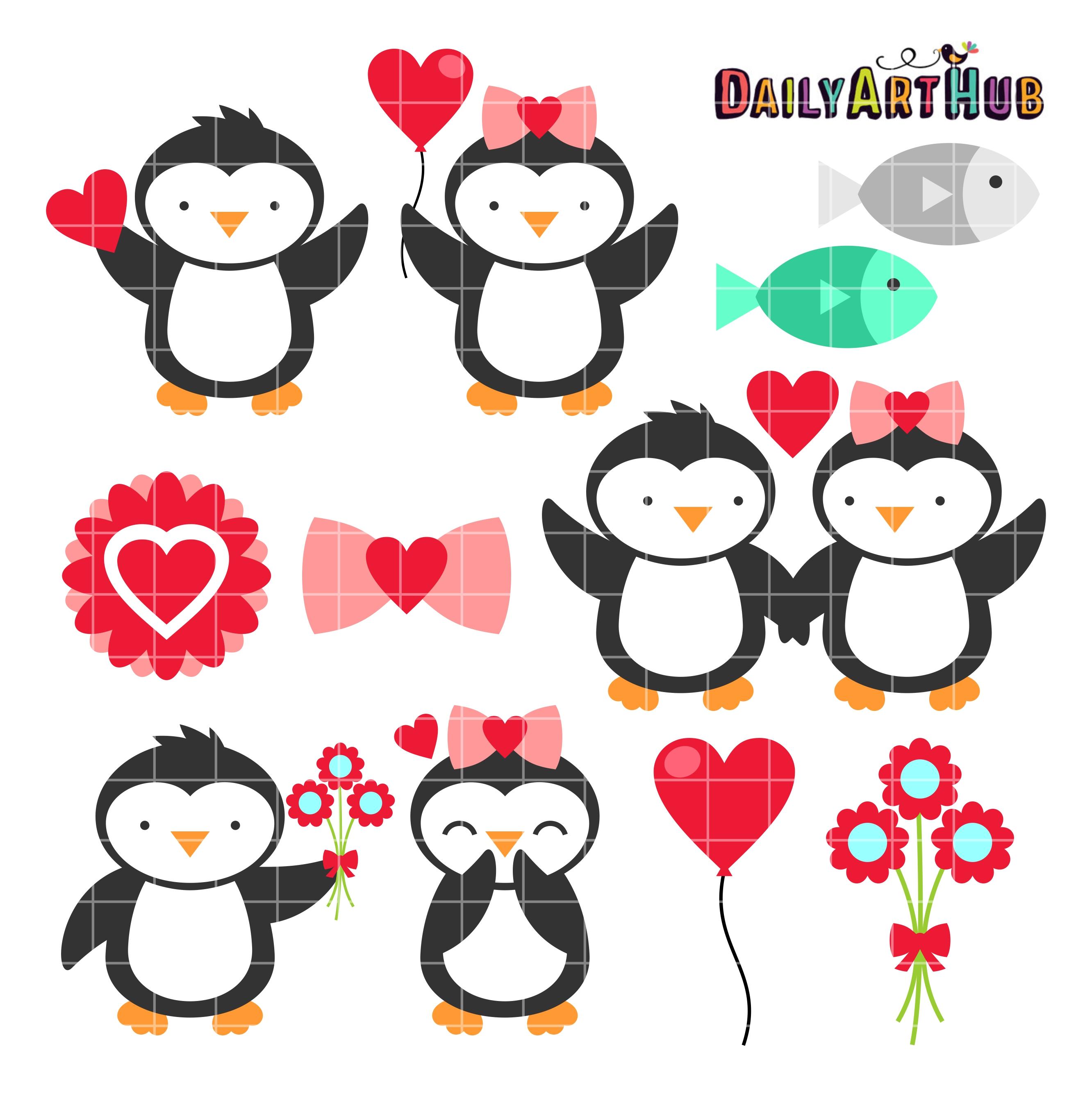 Valentine Penguins Clip Art Set