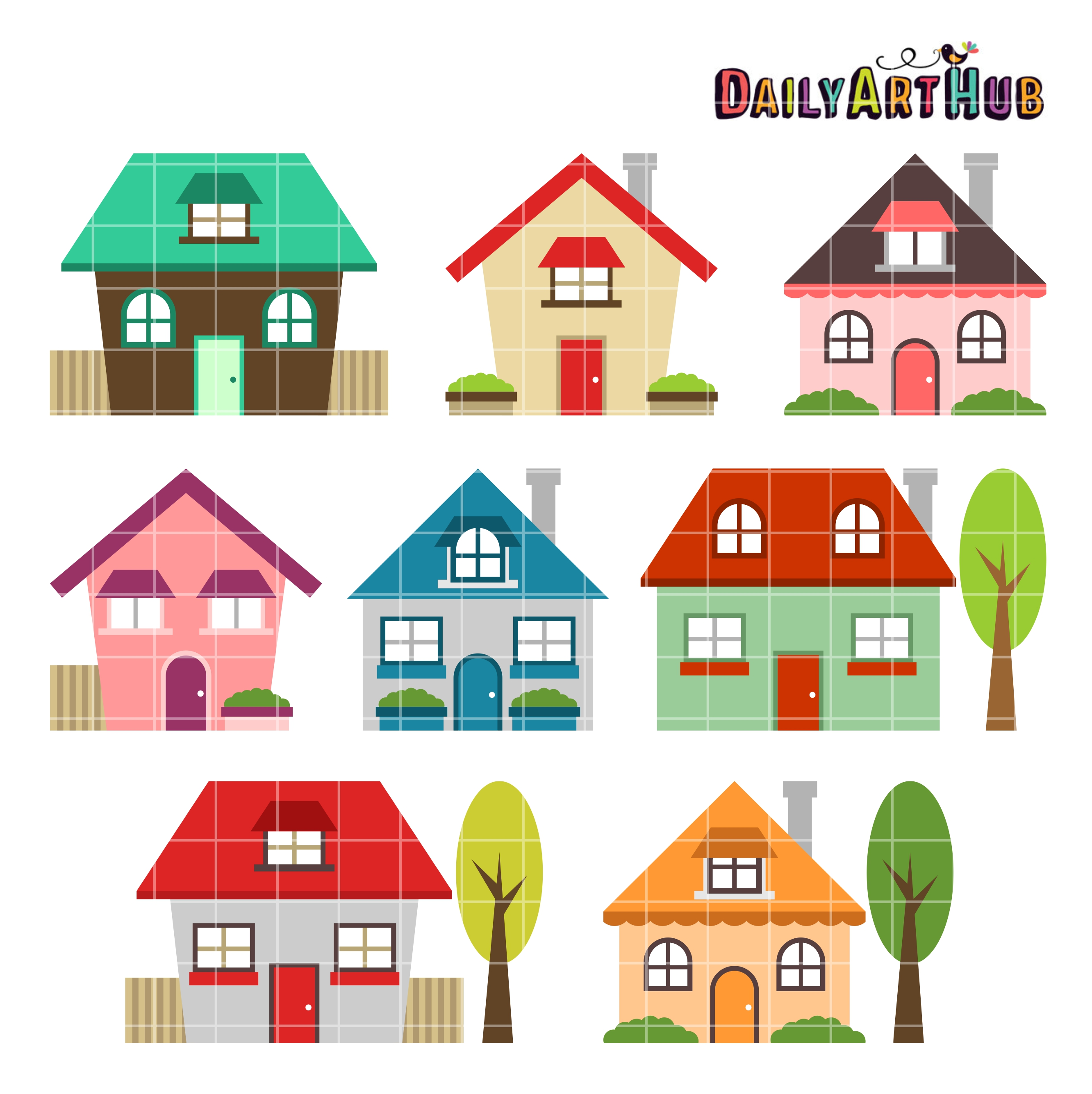 Cute houses clip art set daily art hub free clip art for Photos of cute houses