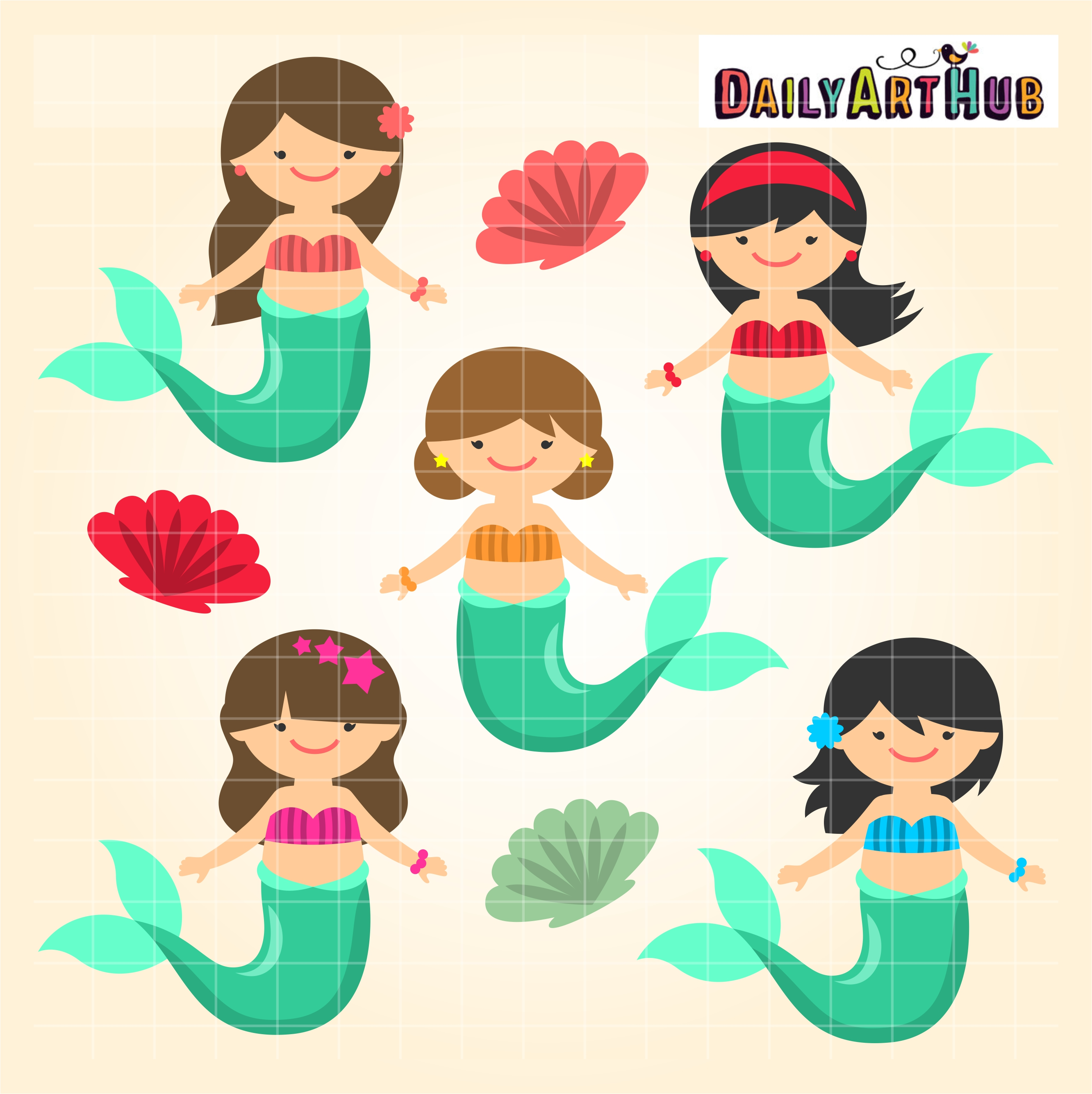 Mermaid Kids Clip Art Set | Daily Art Hub