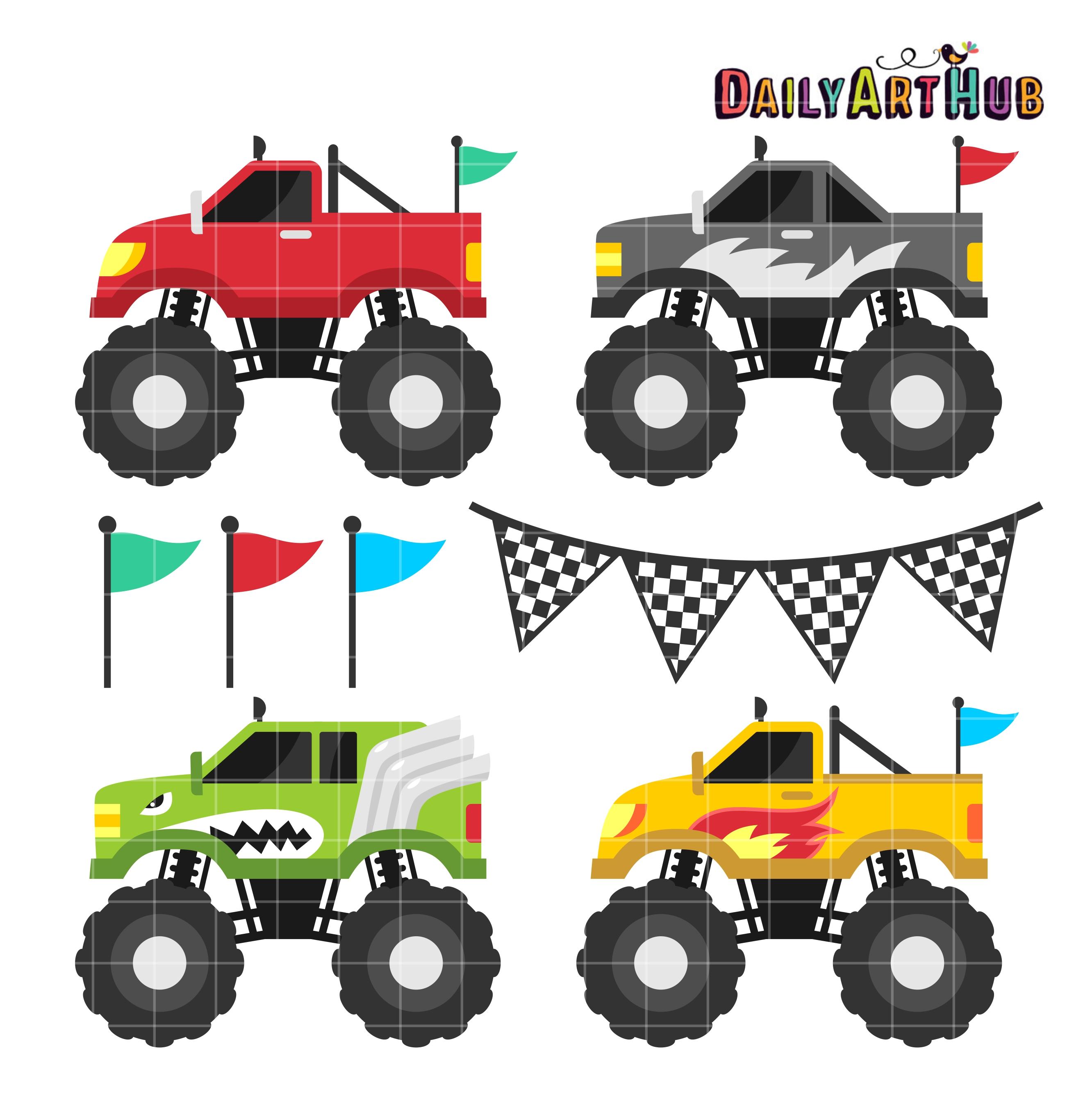 Monster trucks clip art set daily art hub free clip for Cute car tag ideas