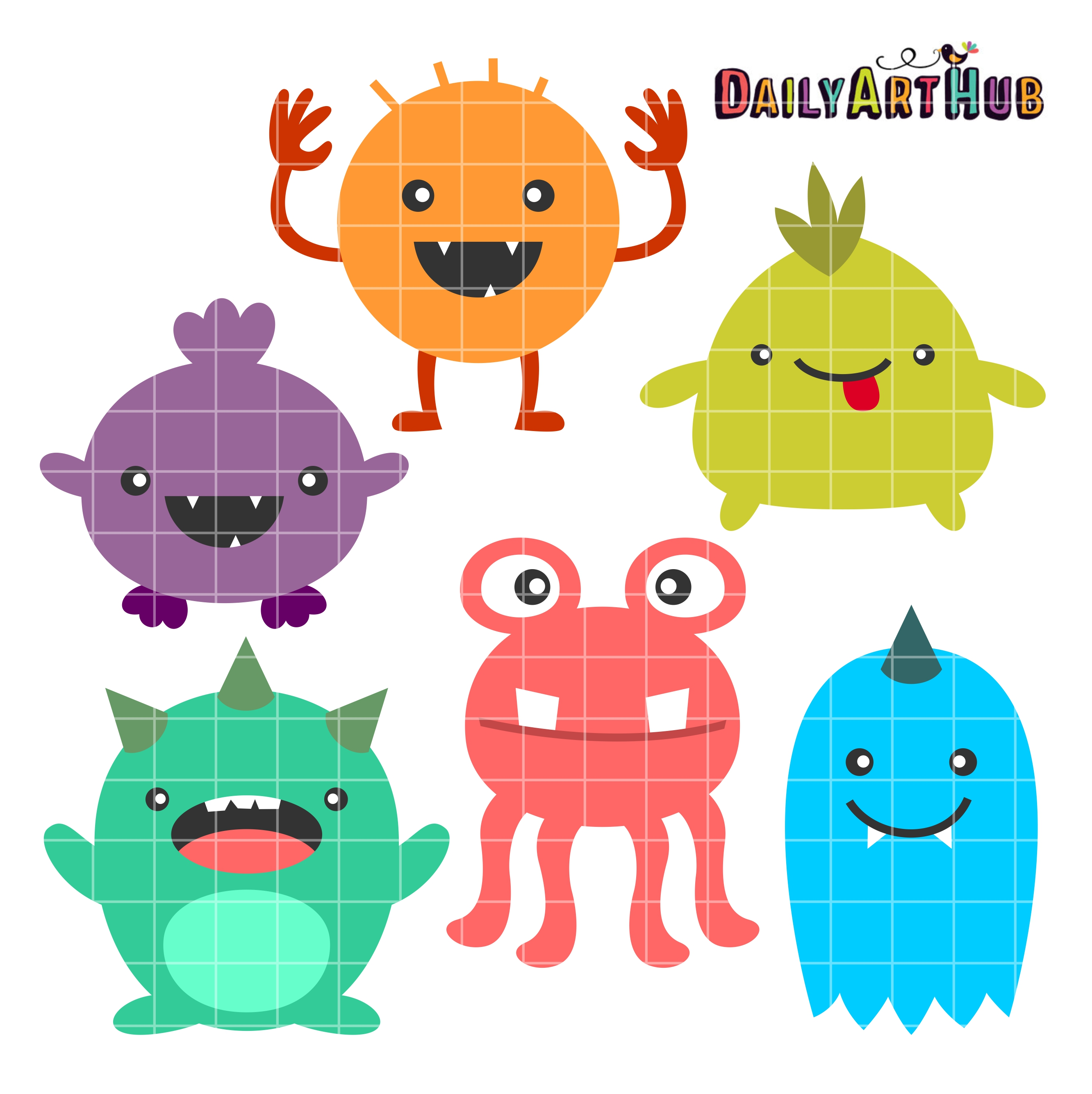 Wacky monsters clip art set daily art hub - Monster high wallpaper border ...