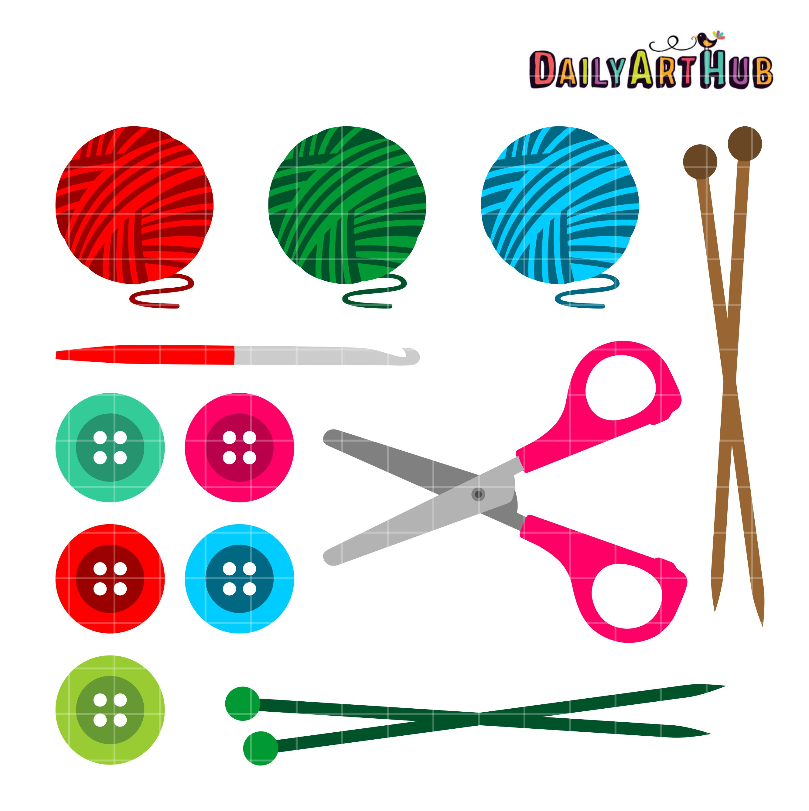 Knitting Crochet Clipart knitting and crochet clip art set daily art ...