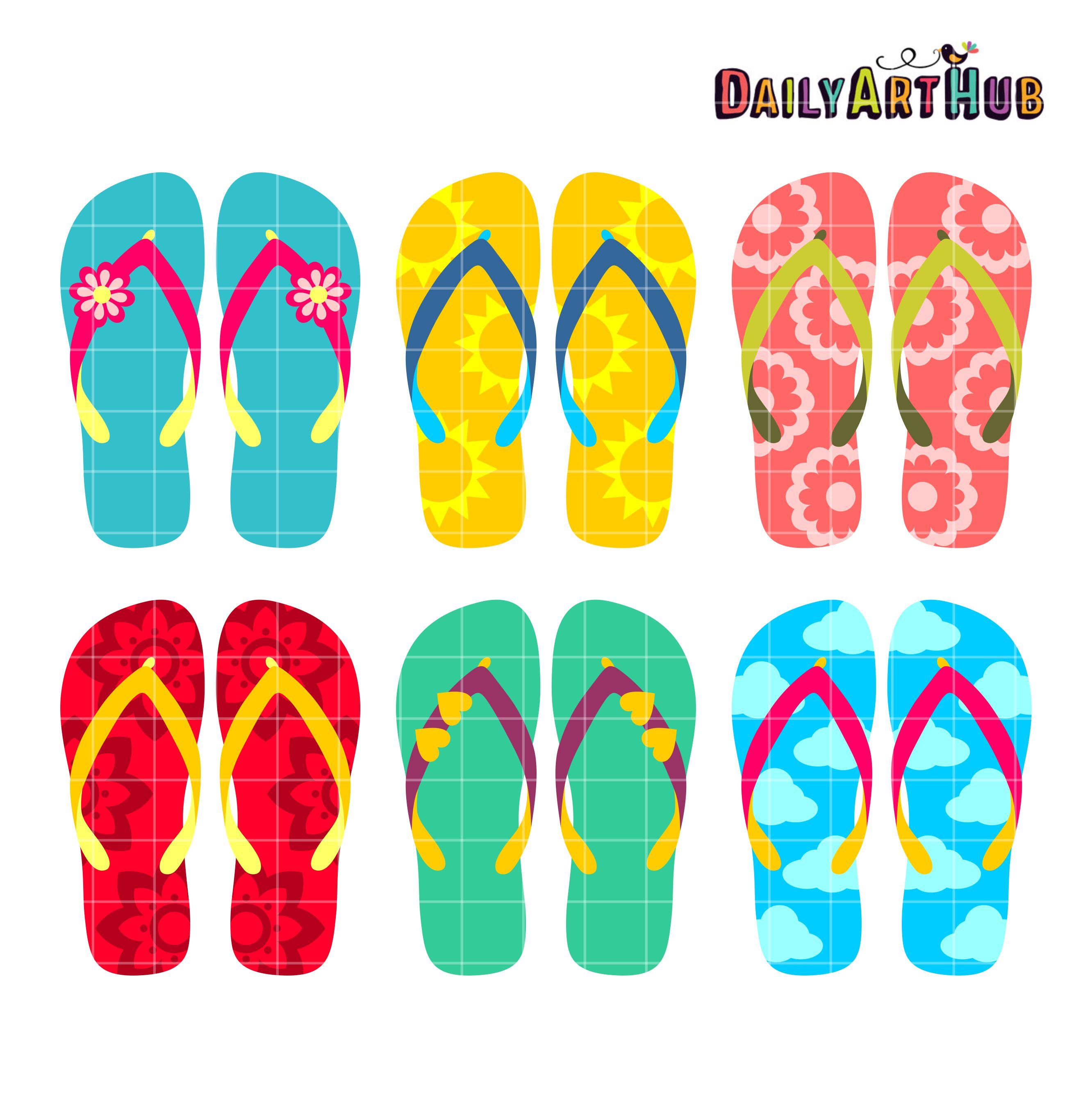 efed752bb5f6 Summer Flip Flops Clip Art Set – Daily Art Hub – Free Clip Art Everyday