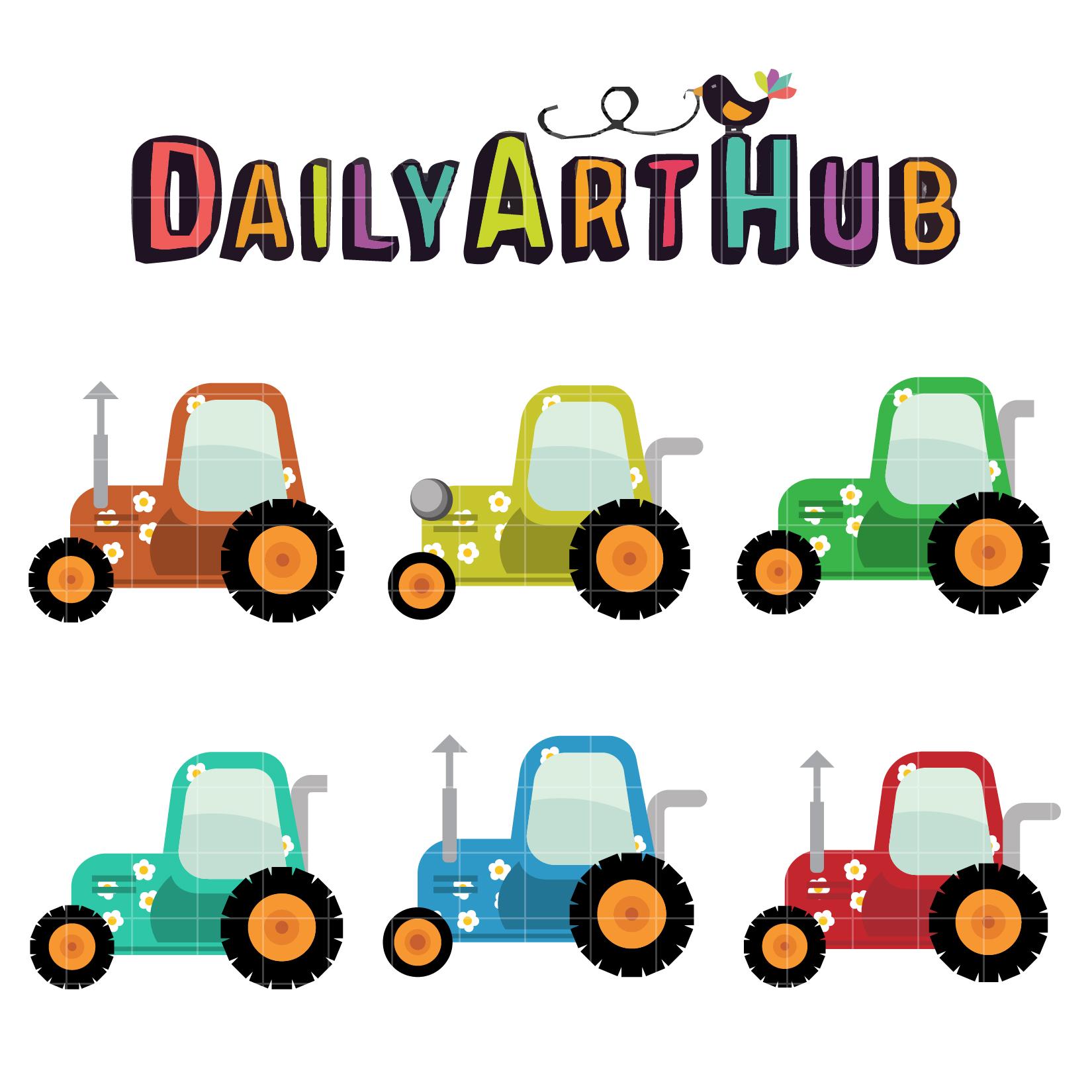 Tractor Cart Clip Art : Floral tractors clip art set daily hub