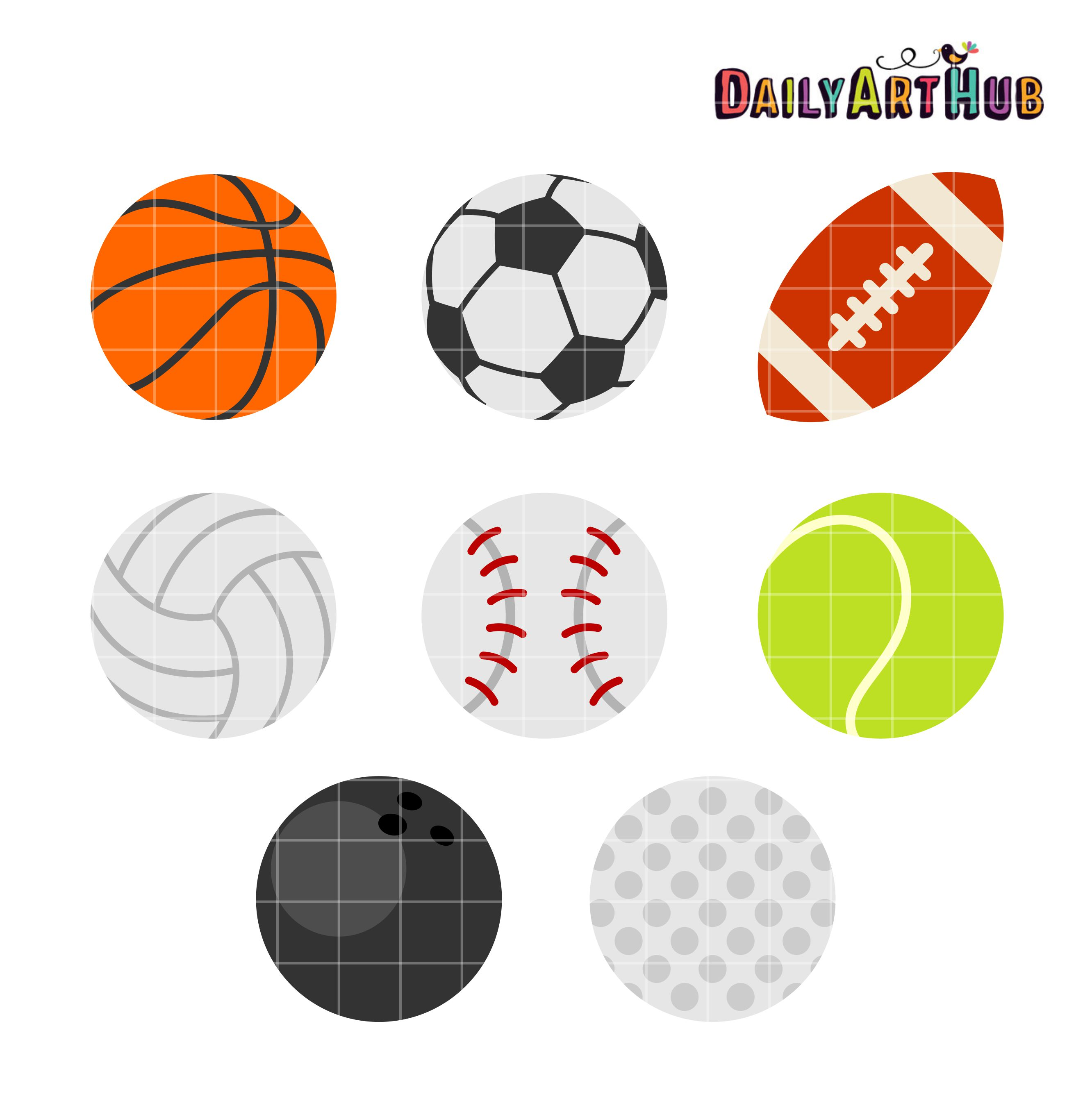 sports balls clip art set rh dailyarthub com free clipart sports balls sports balls clipart black and white