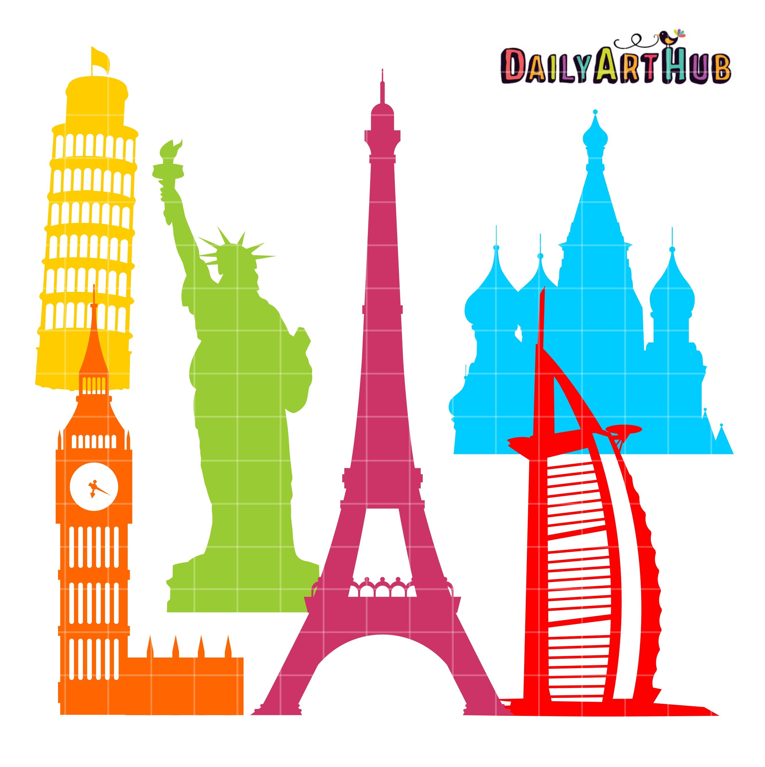 world landmarks silhouettes clip art set � daily art hub