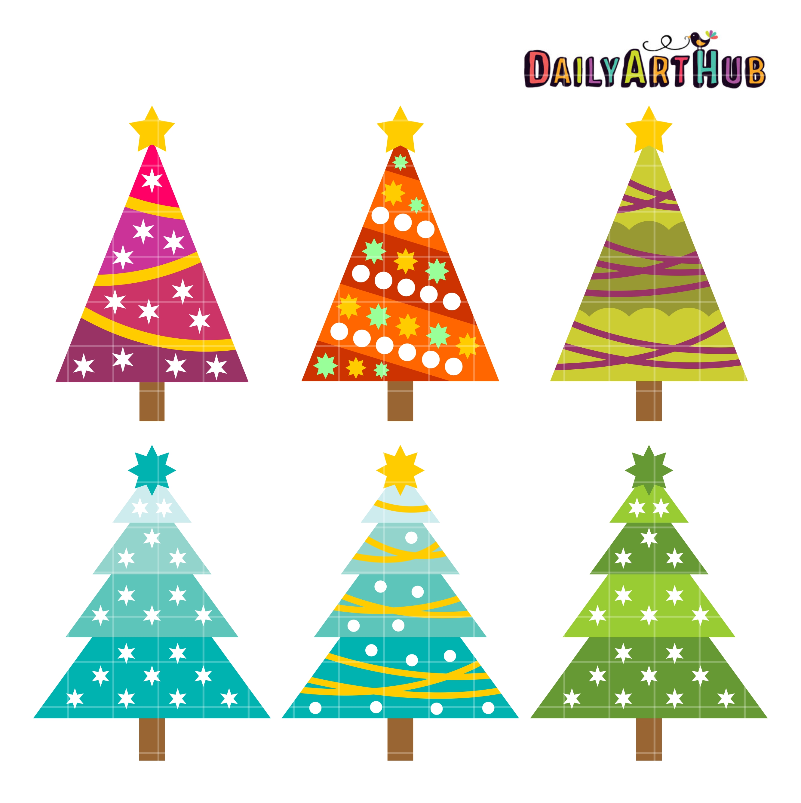 Retro Christmas Trees Clip Art Set | Daily Art Hub