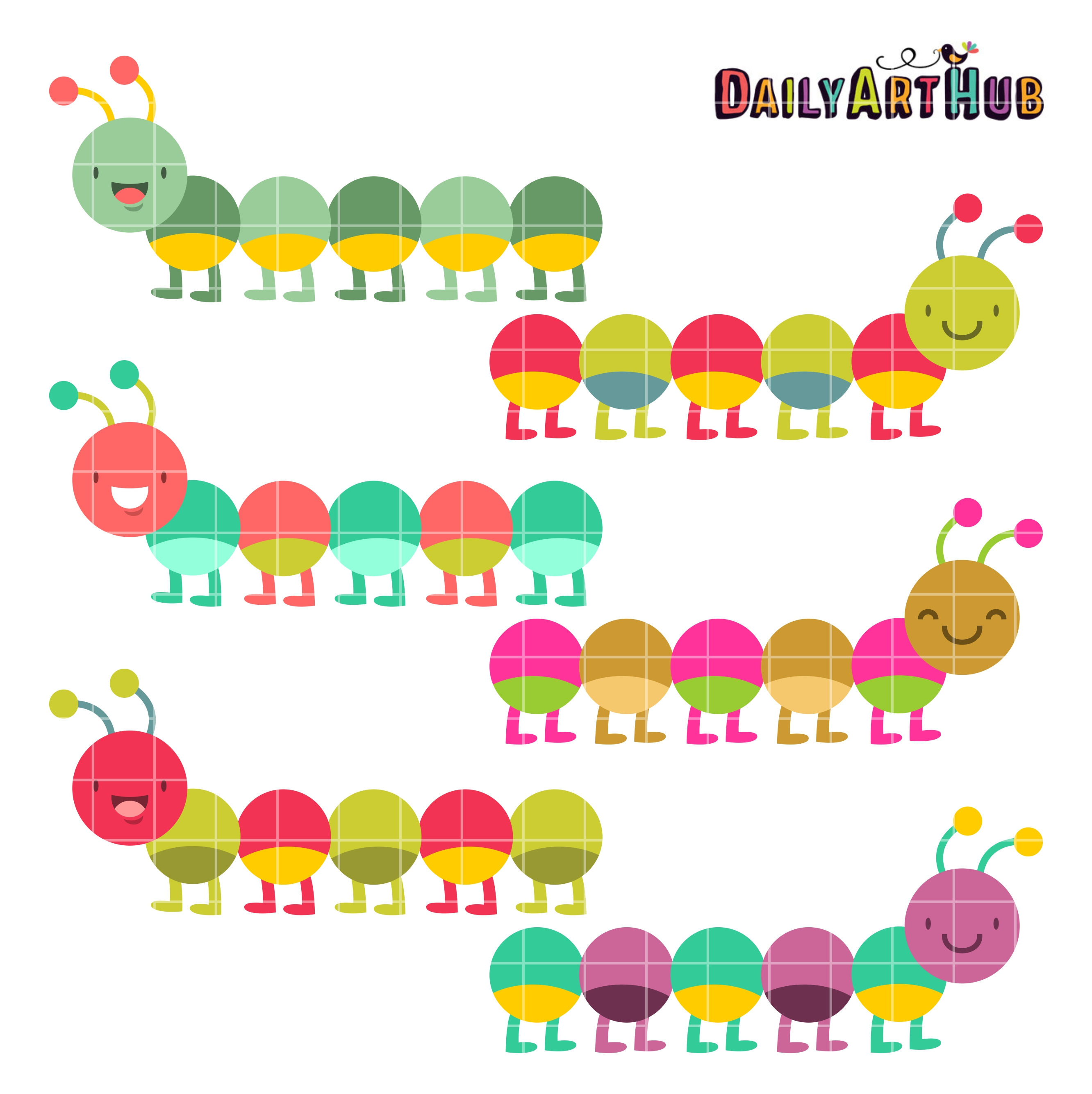 Colorful Caterpillars Clip Art Set Daily Art Hub
