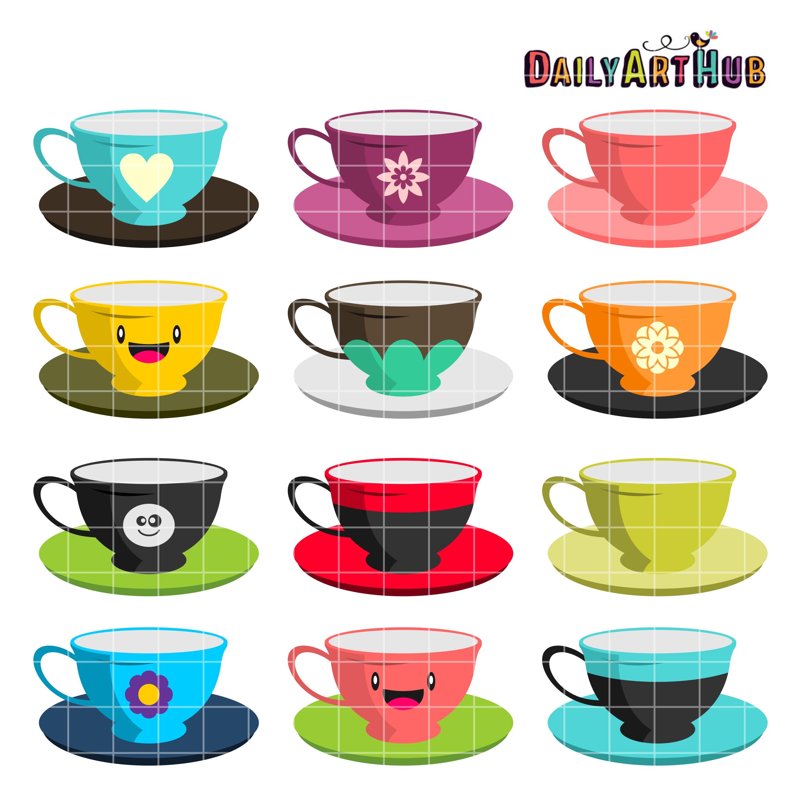 Tea Cups Clip Art Set   Daily Art Hub