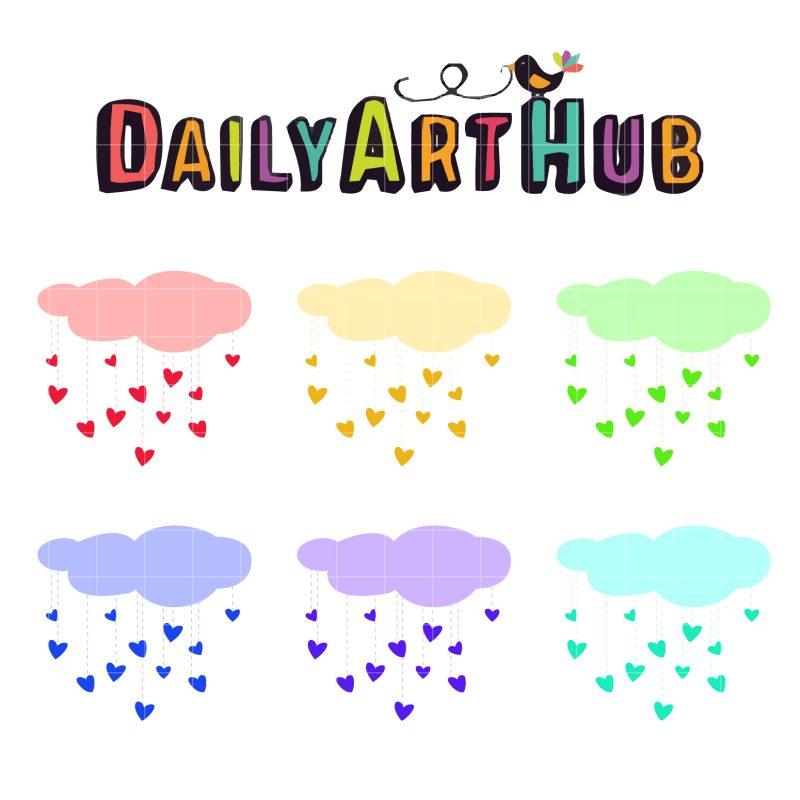 Colorful Raining Hearts