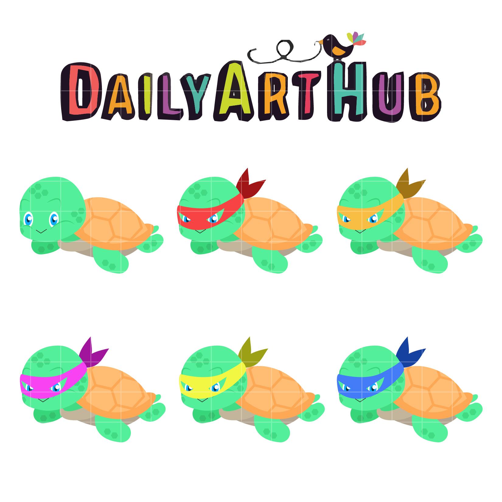 cute ninja turtle clip art set – daily art hub – free clip art everyday