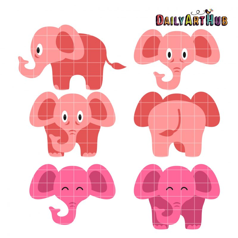 Cute Pink Elephants