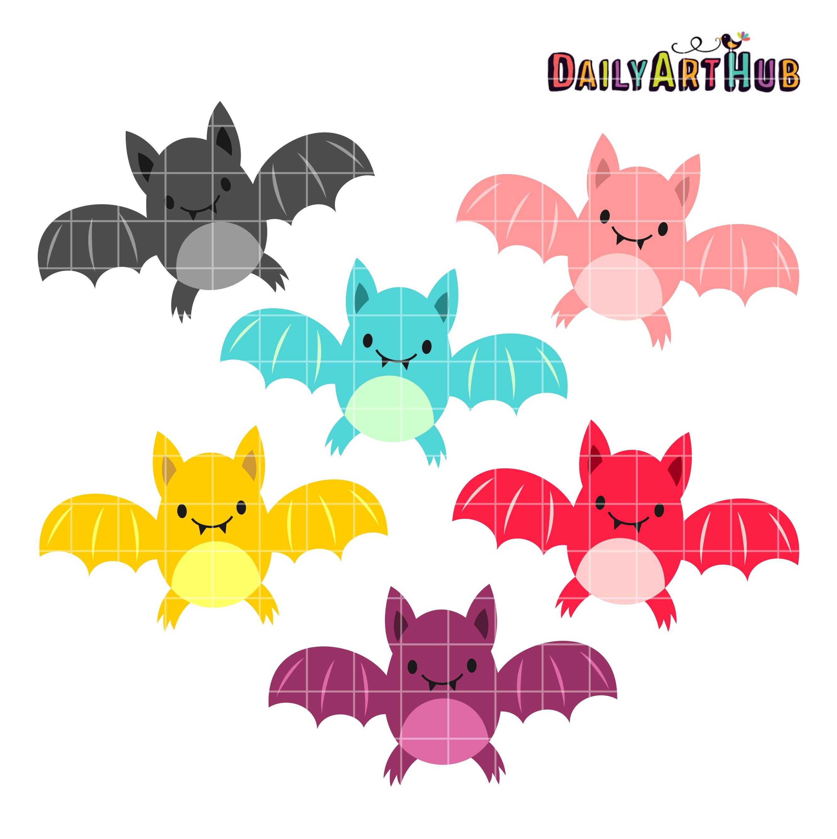 Halloween Cute Bats Clip Art Set | Daily Art Hub