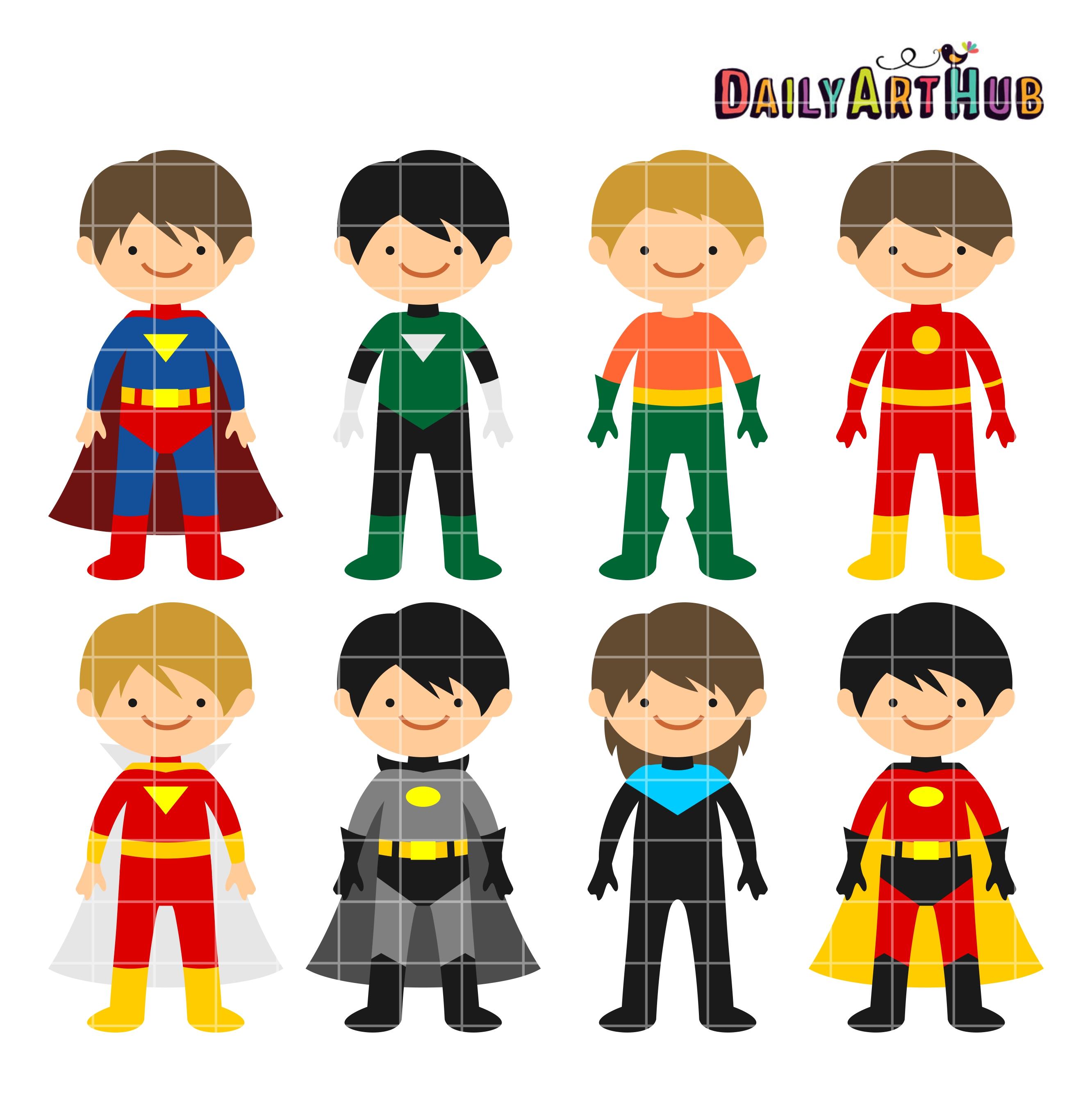 superhero boys clip art set daily art hub free clip art everyday rh dailyarthub com Free Friendship Word Clip Art free friendship clipart images