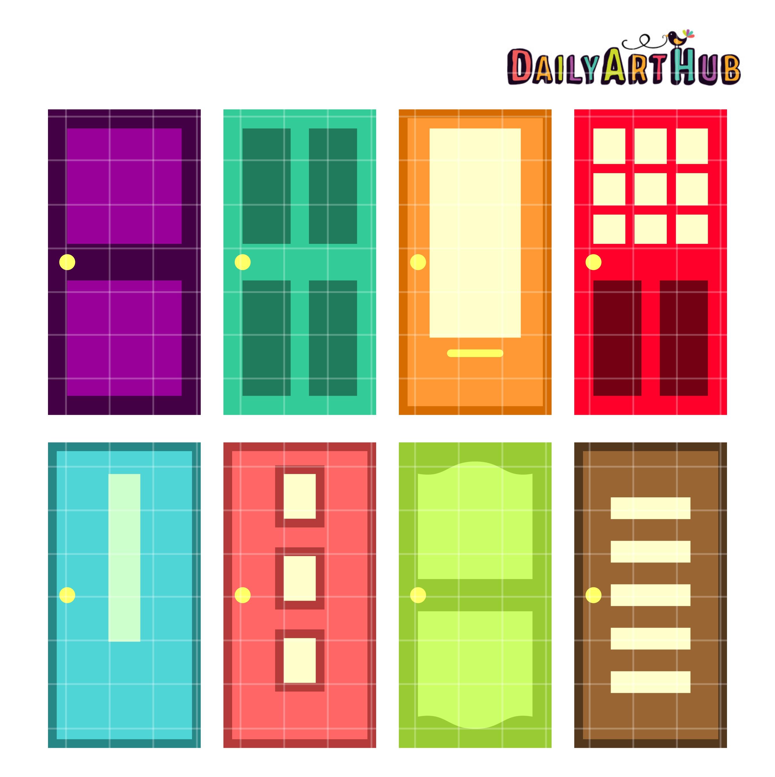 Colorful Doors Clip Art Set Daily Art Hub