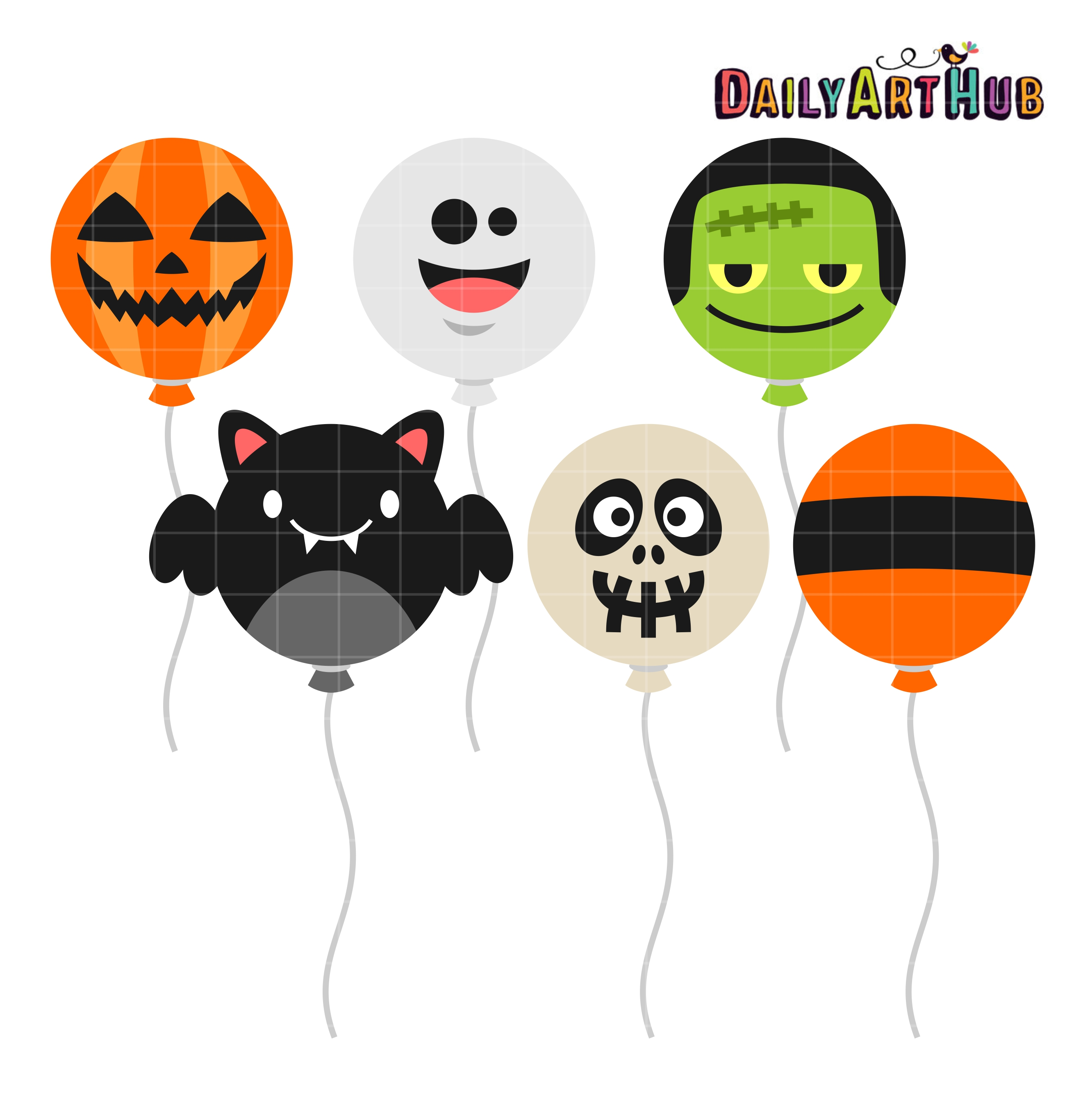 Halloween Balloons Clip Art Set | Daily Art Hub