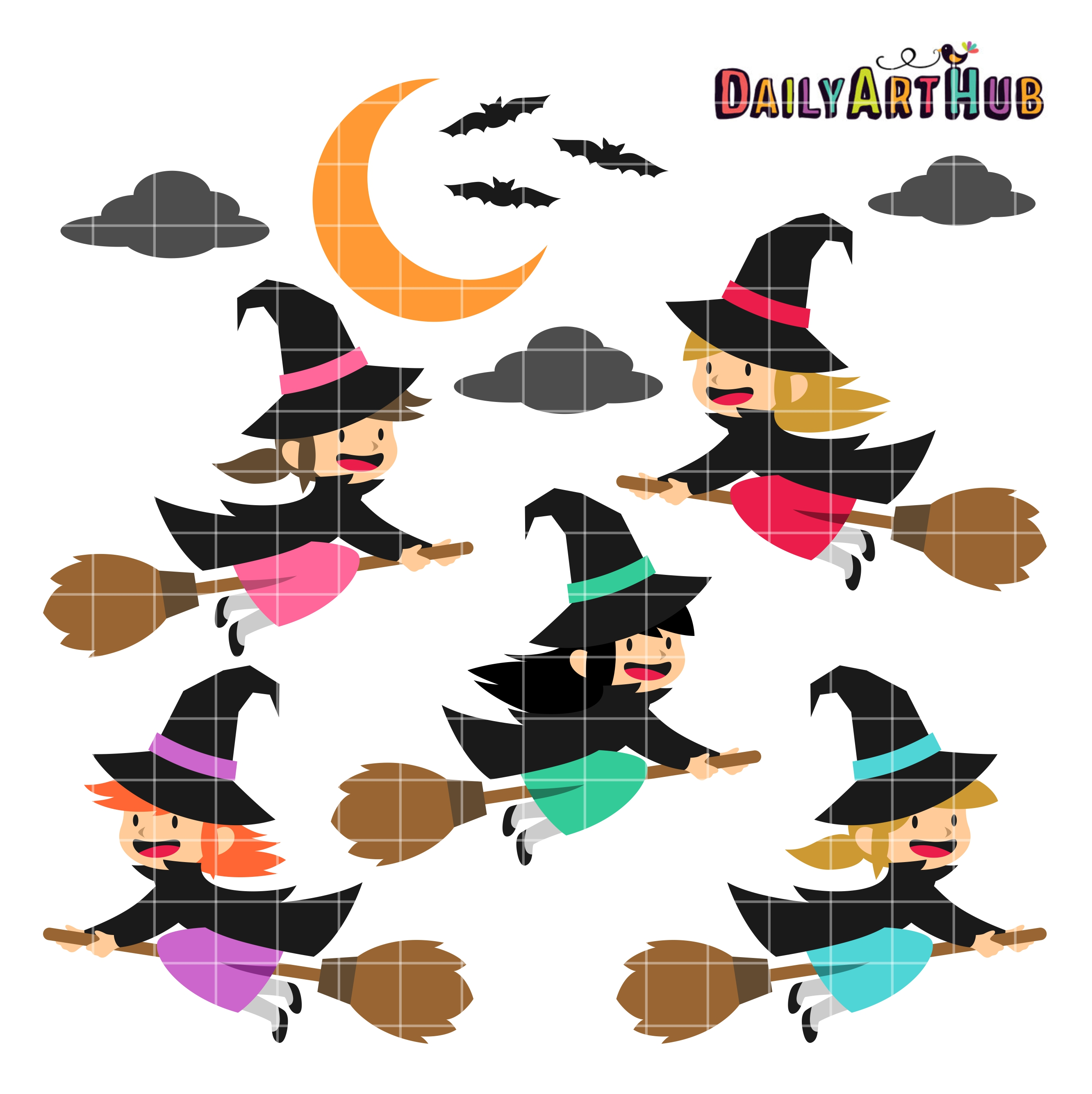 Halloween Cute Witches Clip Art Set   Daily Art Hub