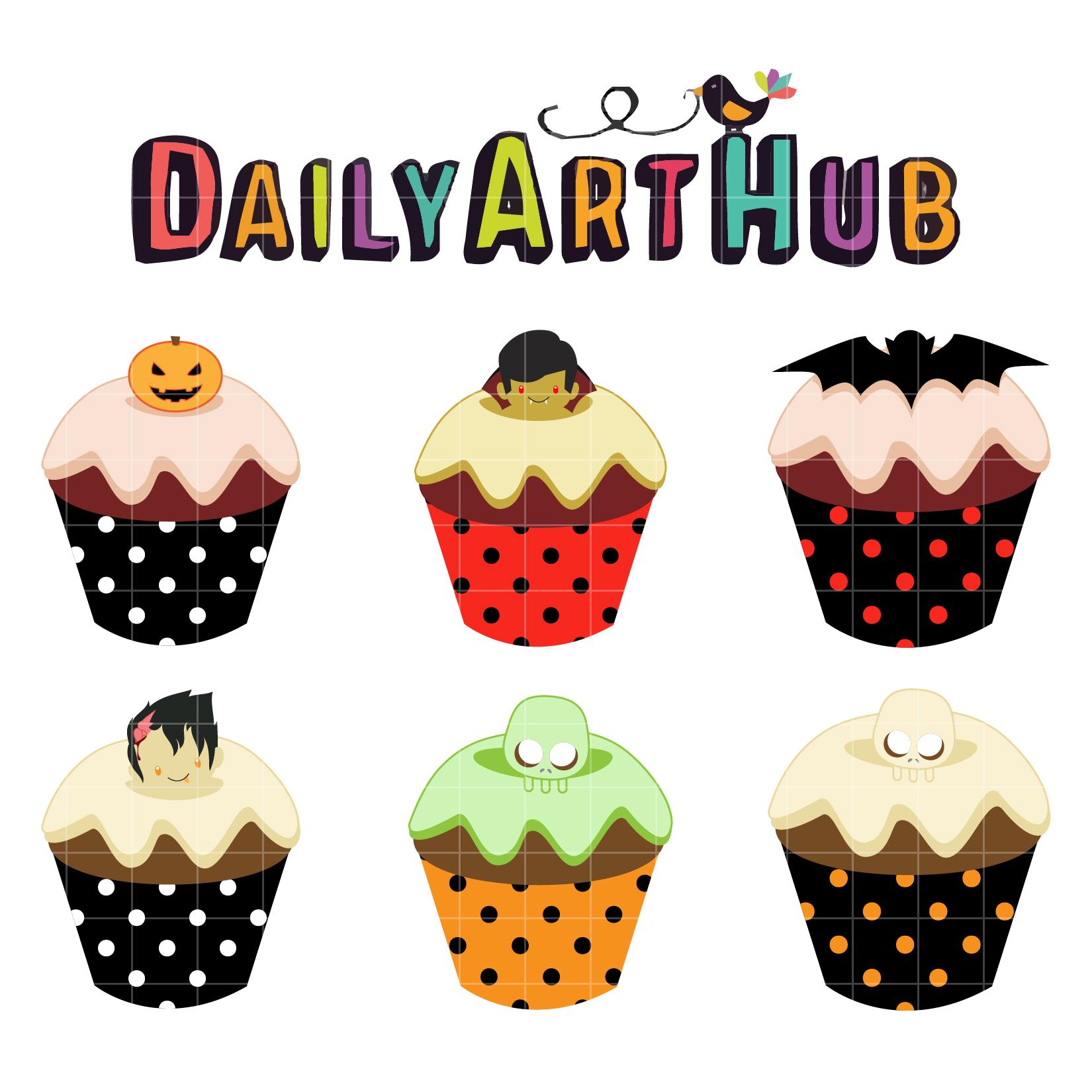 Halloween Delicious Cupcakes Clip Art Set | Daily Art Hub